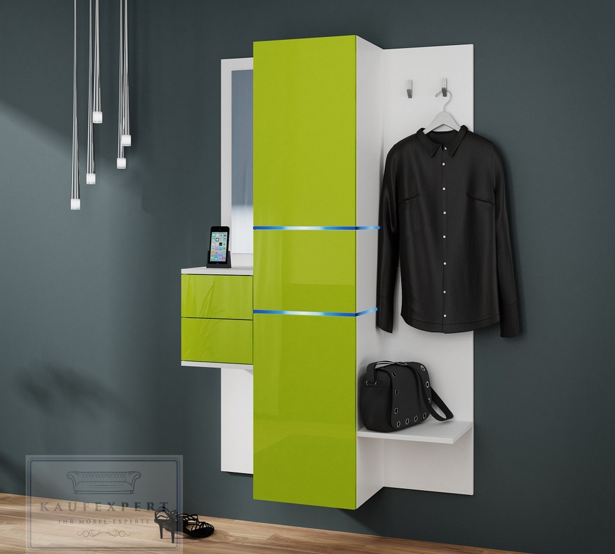 kaufexpert garderobe camino lime hochglanz wei mit spiegel led beleuchtung garderoben set. Black Bedroom Furniture Sets. Home Design Ideas