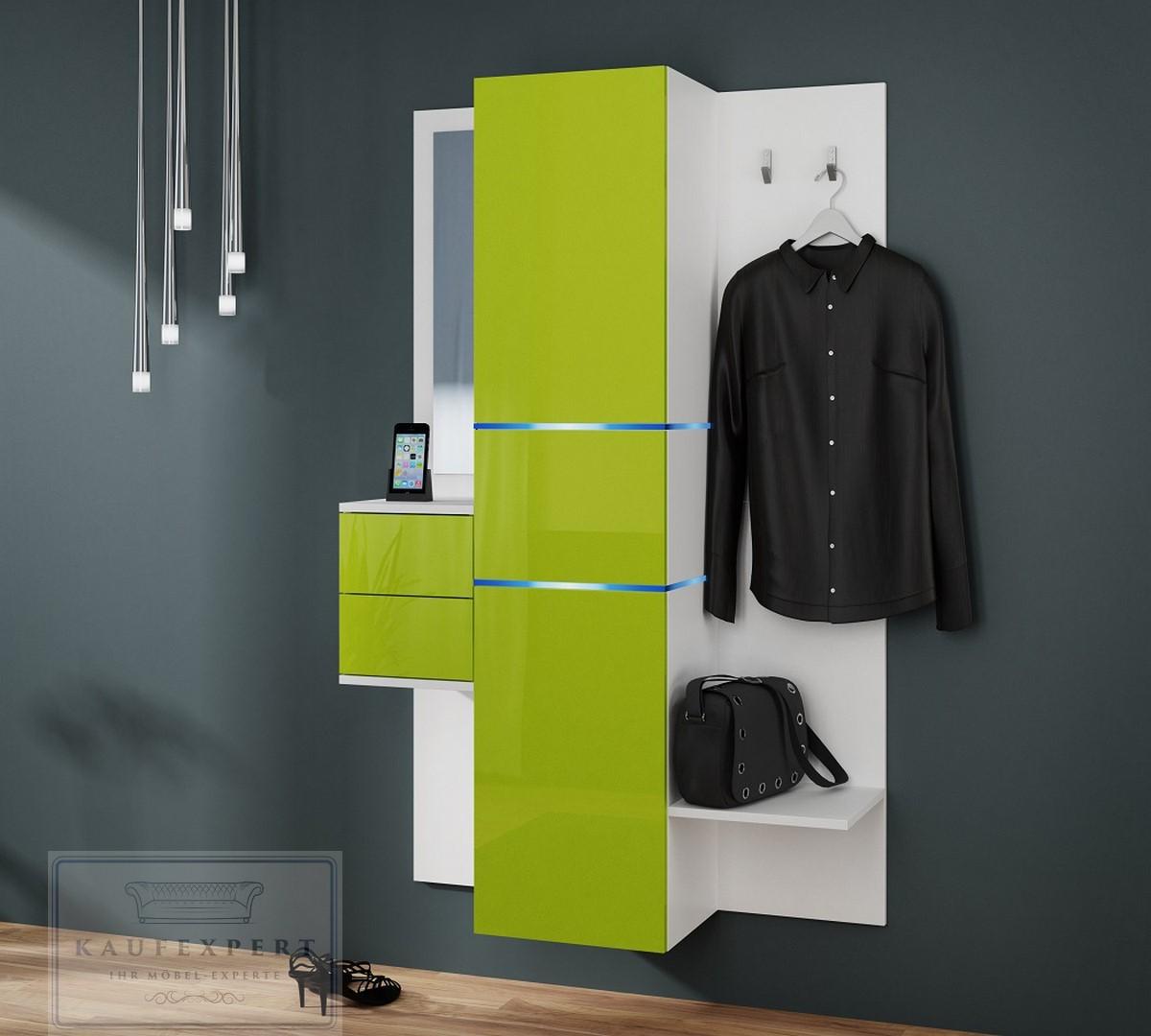 Kaufexpert garderobe camino lime hochglanz wei mit for Garderoben set mit spiegel
