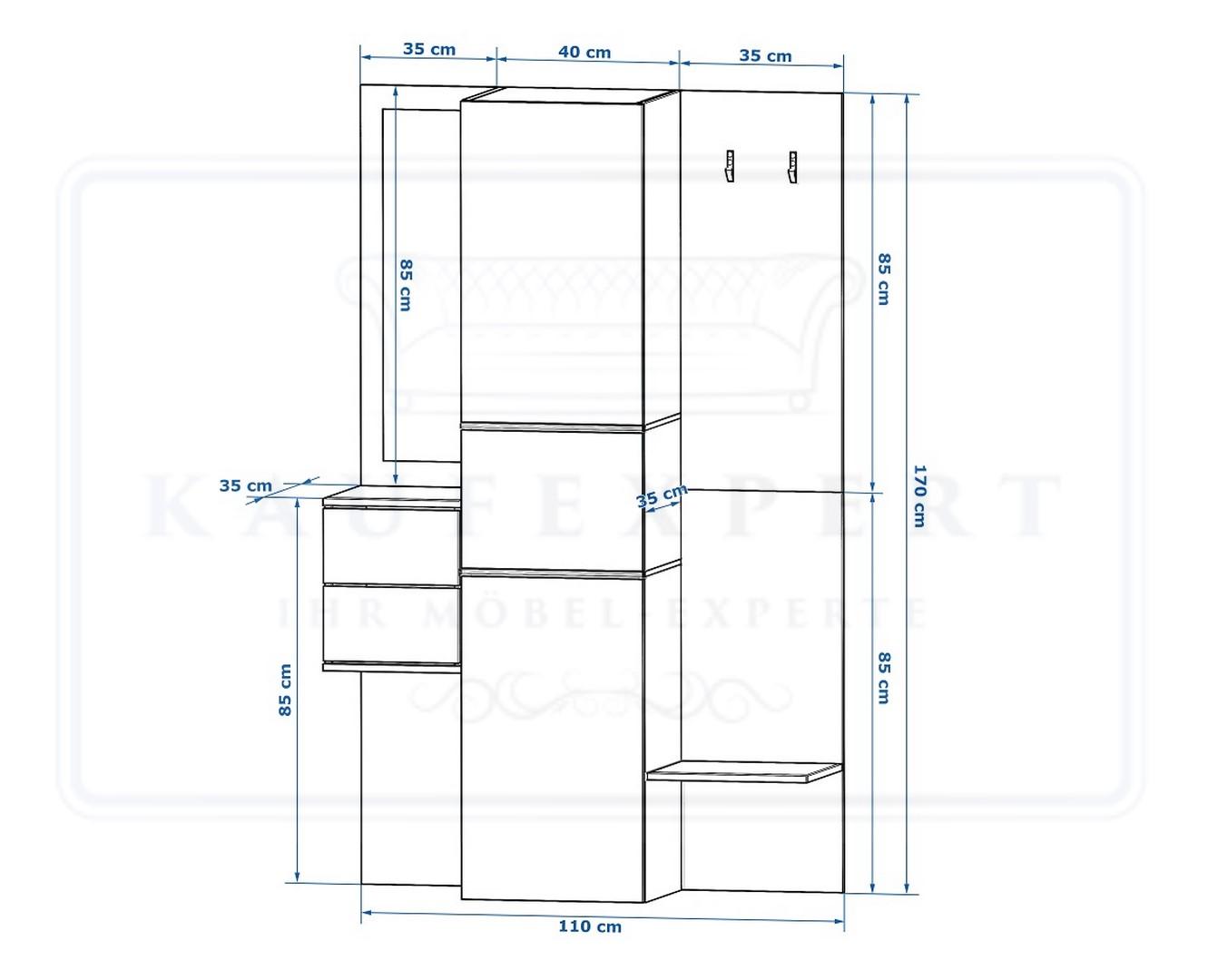kaufexpert garderobe camino grau hochglanz schwarz mit spiegel led beleuchtung garderoben set. Black Bedroom Furniture Sets. Home Design Ideas