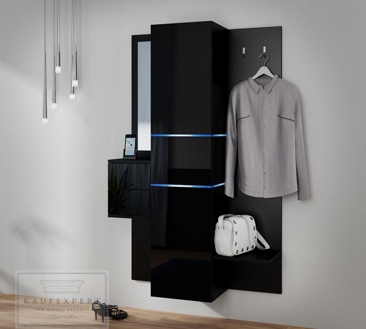kaufexpert sofort garderobe camino schwarz hochglanz mit spiegel und griffe led beleuchtung. Black Bedroom Furniture Sets. Home Design Ideas