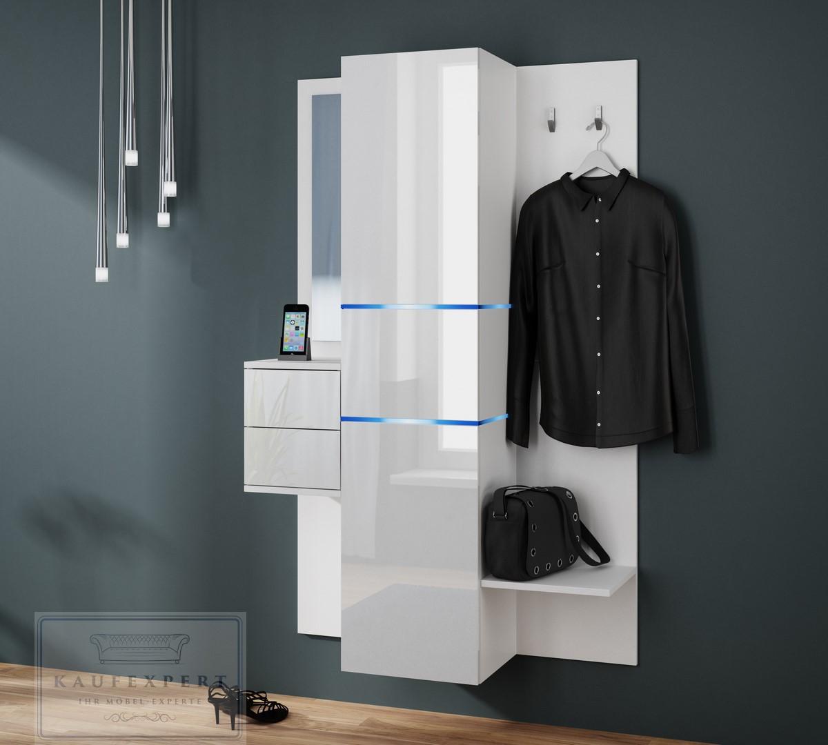 kaufexpert garderobe camino wei hochglanz mit spiegel led beleuchtung garderoben set. Black Bedroom Furniture Sets. Home Design Ideas