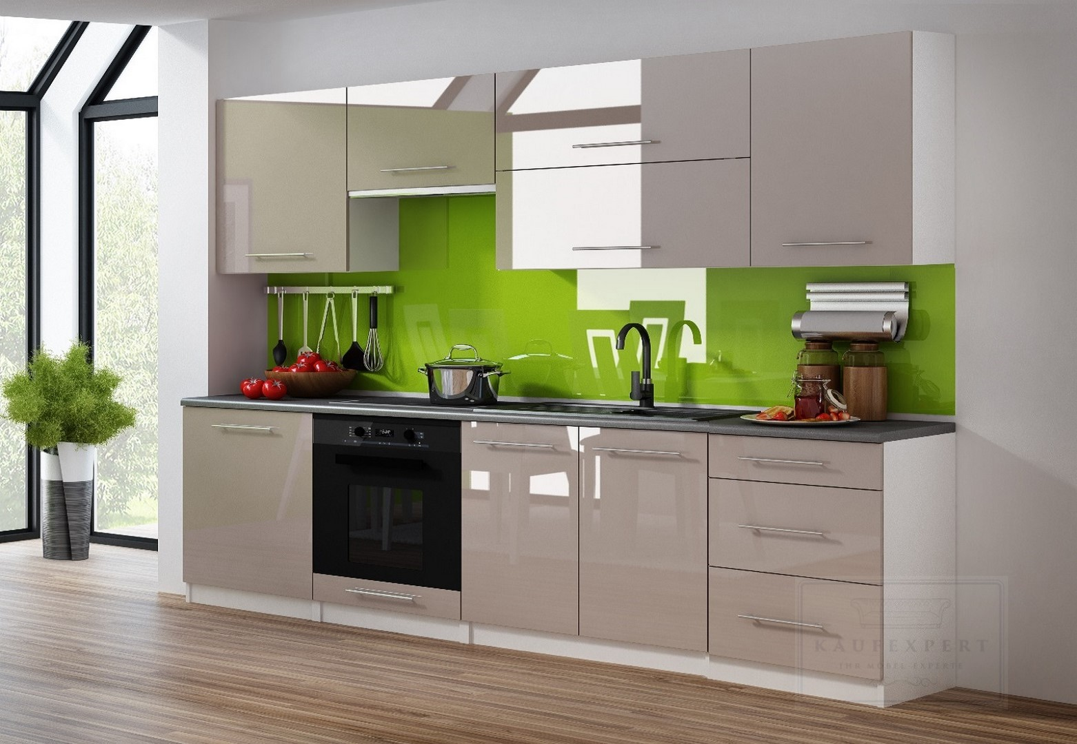 KAUFEXPERT - Küchenzeile Linda Cappuccino Hochglanz 240 cm Küche ...