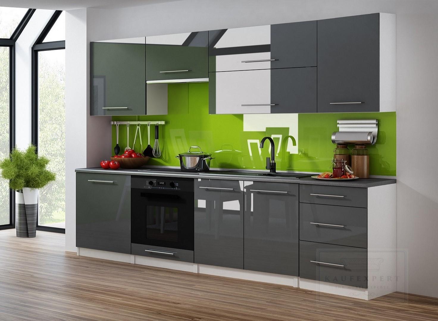 kaufexpert k chenzeile linda grau hochglanz 240 cm k che k chenblock mdf arbeitsplatte. Black Bedroom Furniture Sets. Home Design Ideas