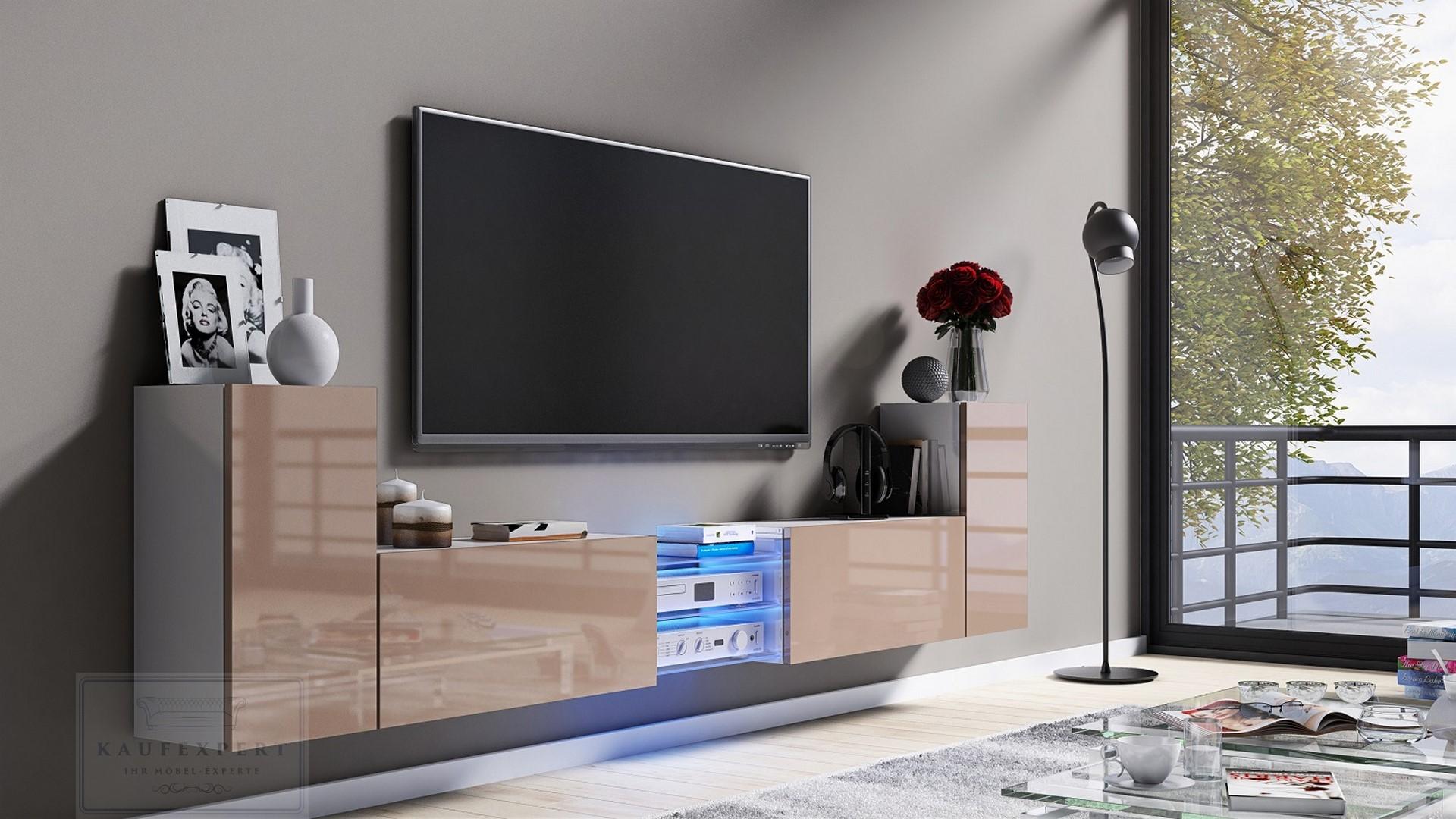 KAUFEXPERT - Tv Lowboard Galaxy Cappuccino Hochglanz/Weiß MDF Design ...