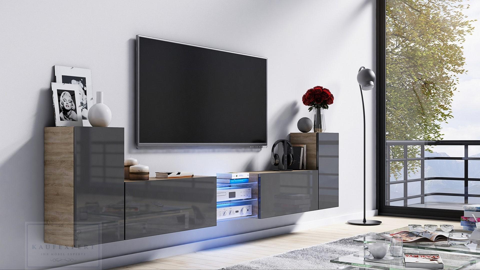 Kaufexpert Tv Lowboard Galaxy Grau Hochglanz Sonoma Mdf Design
