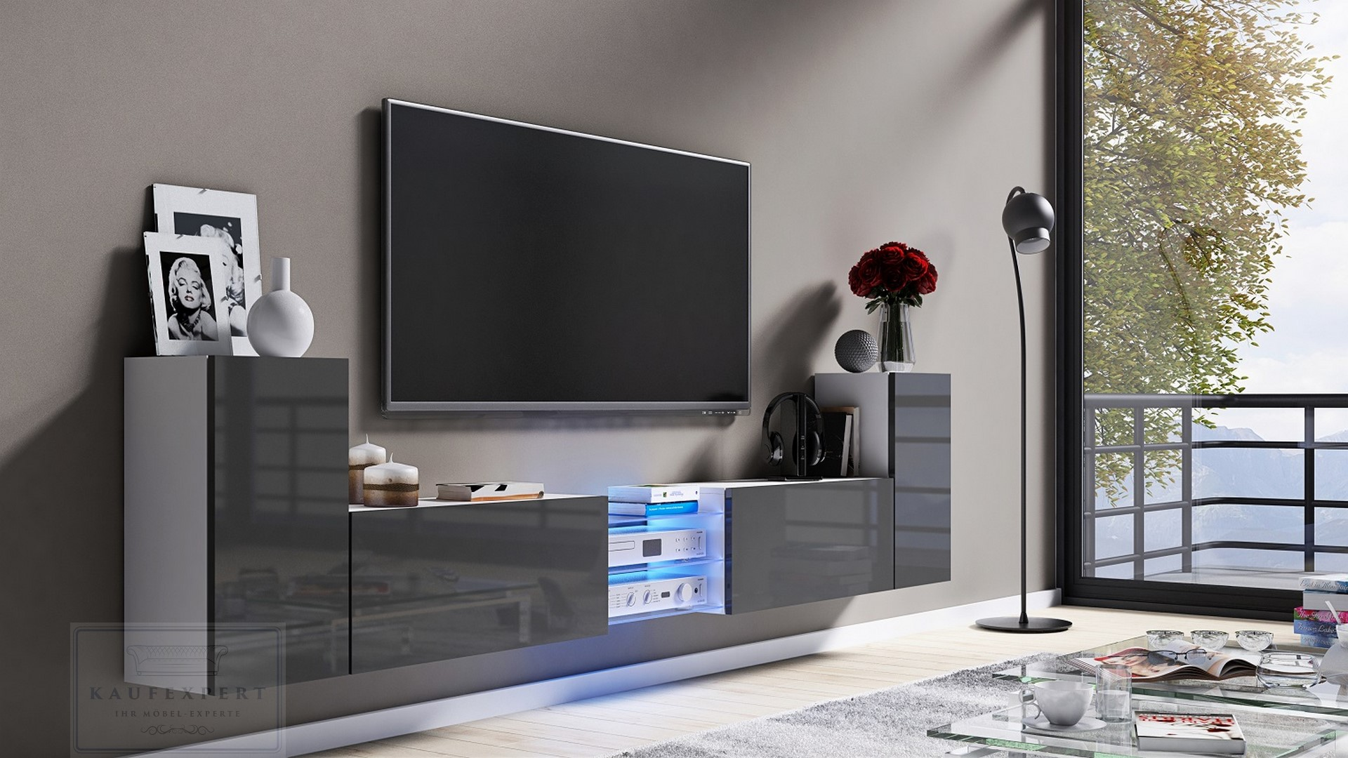 Tv Lowboard Galaxy Grau Hochglanz Weiss Mdf Design Board Hifi Tisch Beleuchtung Modern Wohnwand Schrank Mobel