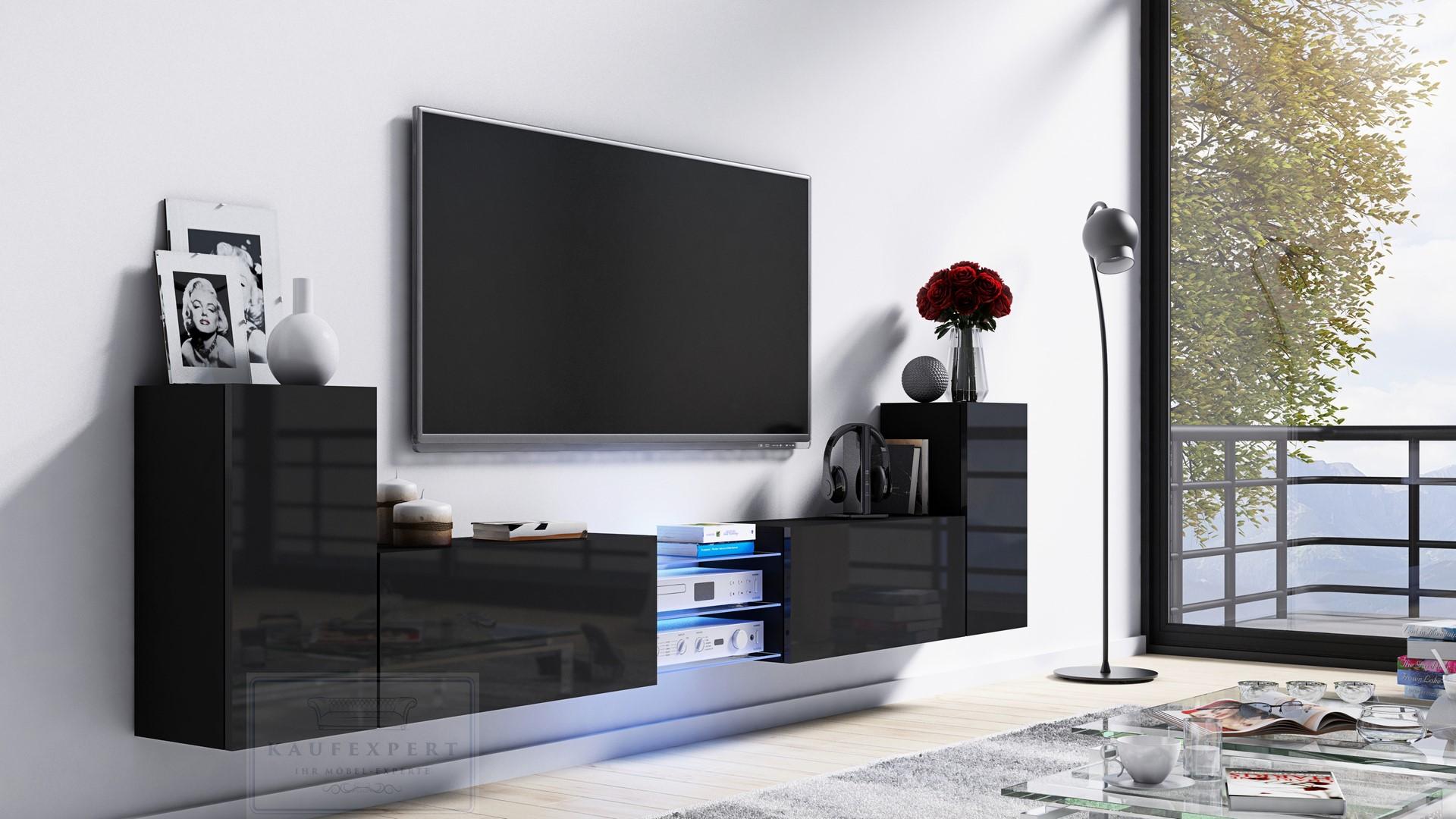 kaufexpert tv lowboard galaxy schwarz hochglanz schwarz. Black Bedroom Furniture Sets. Home Design Ideas