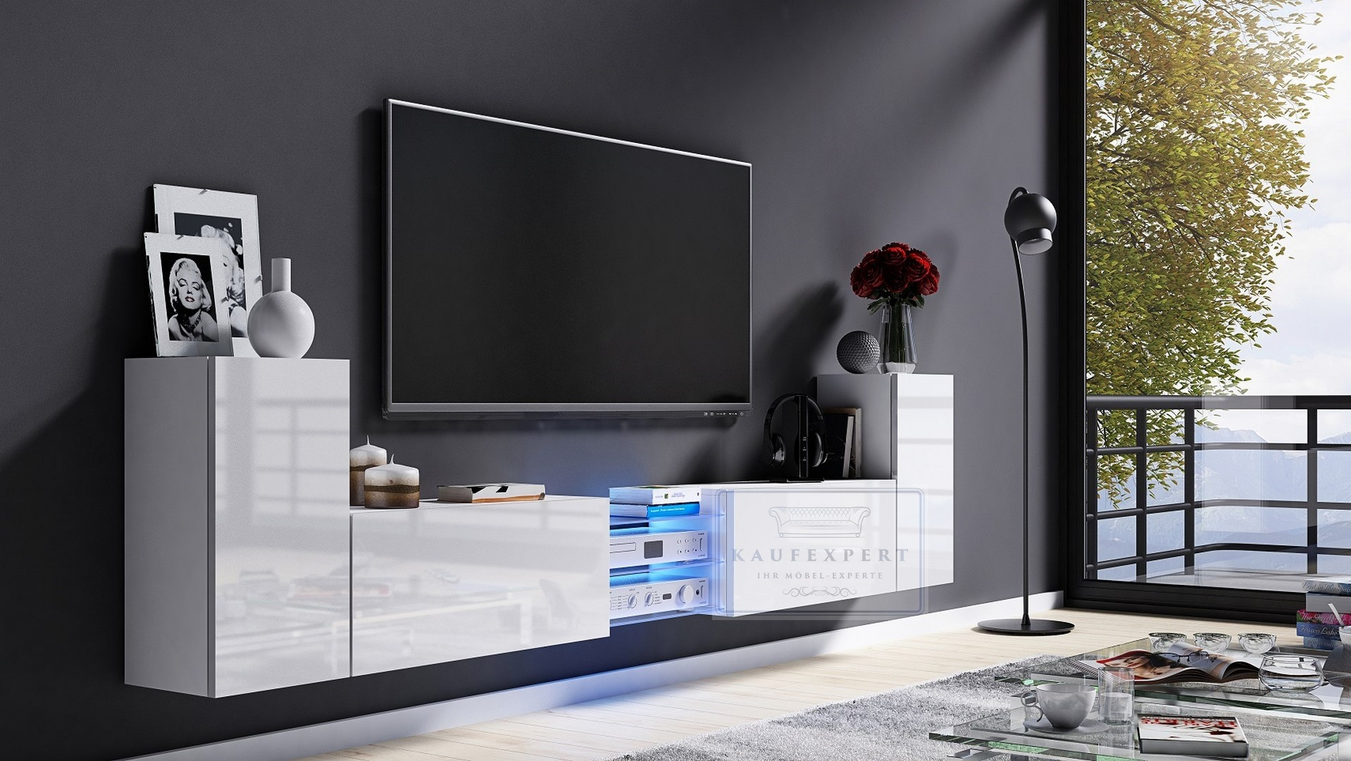 kaufexpert tv lowboard galaxy wei hochglanz wei mdf design board hifi tisch beleuchtung. Black Bedroom Furniture Sets. Home Design Ideas