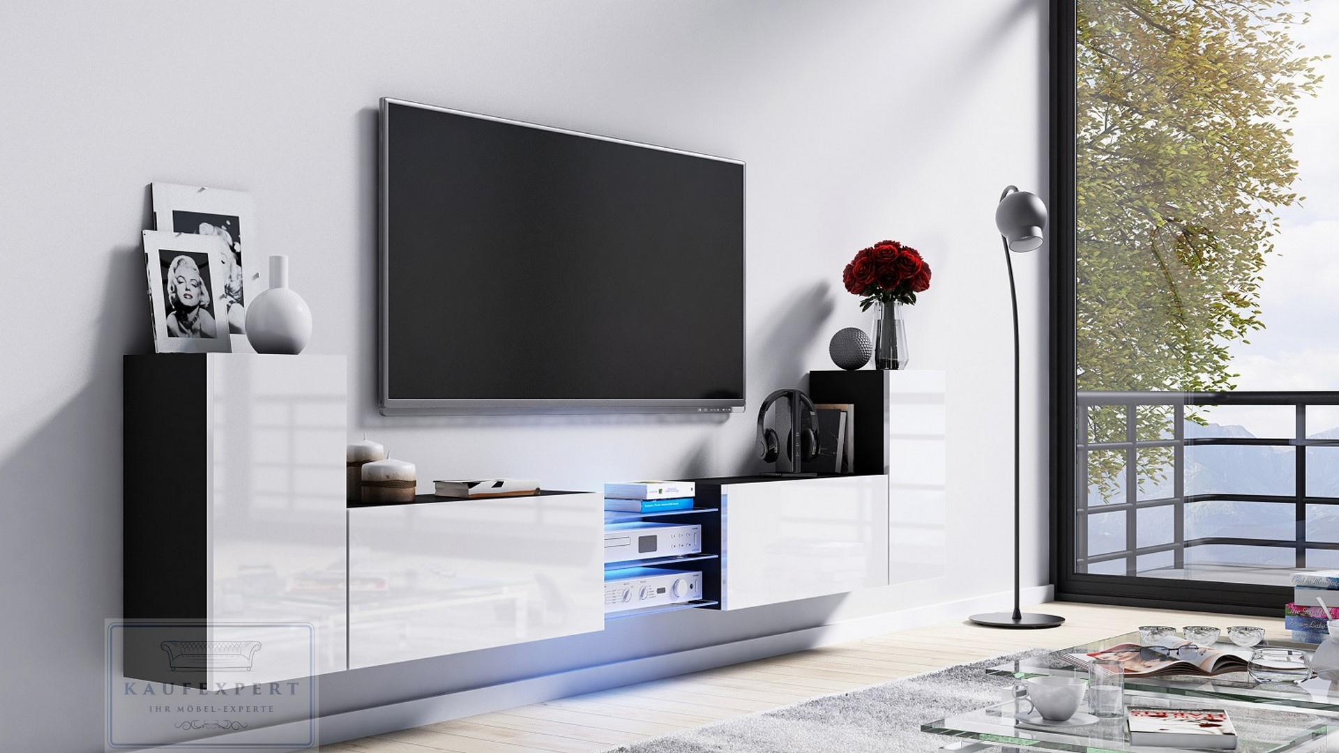 Kaufexpert Tv Lowboard Galaxy Weiss Hochglanz Schwarz Mdf Design