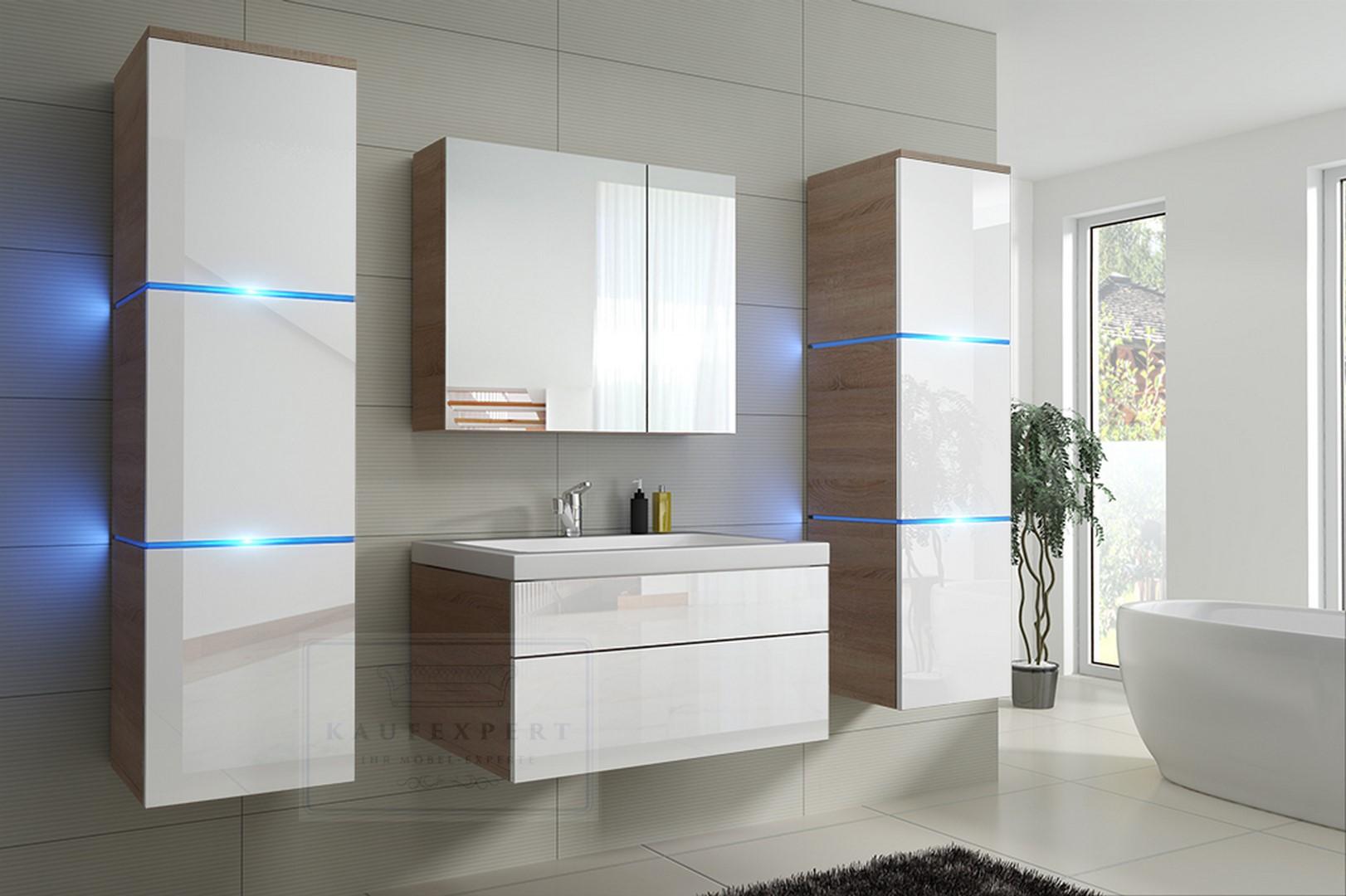 Badmöbel-Set Lux NEW Weiß Hochglanz/Sonoma Eiche KERAMIK Waschbecken  Badezimmer Led Beleuchtung Badezimmermöbel Keramikbecken Holzoptik