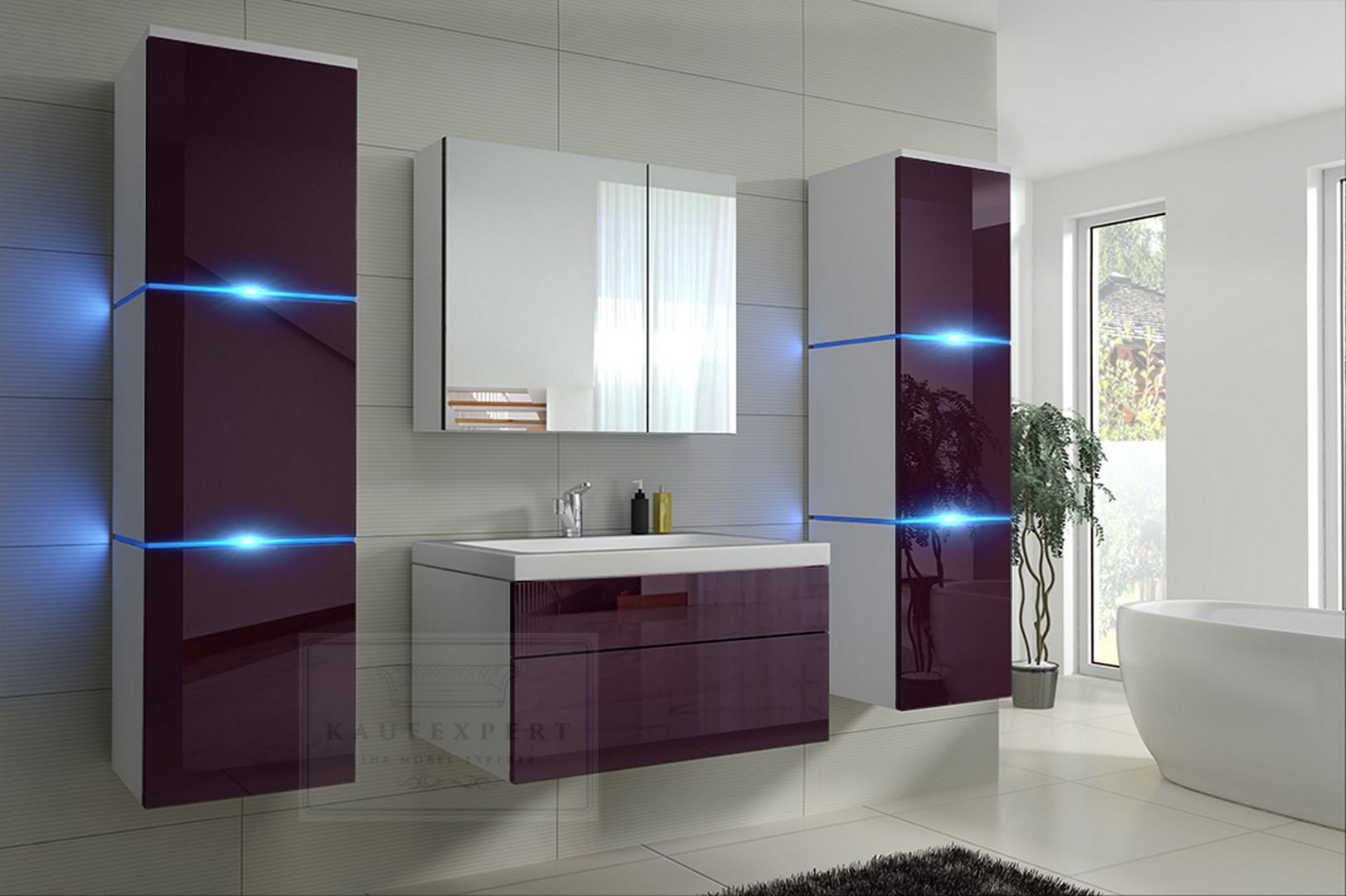 Badmöbel-Set Lux NEW Aubergine Hochglanz/Weiß KERAMIK Waschbecken  Badezimmer Led Beleuchtung Badezimmermöbel Keramikbecken