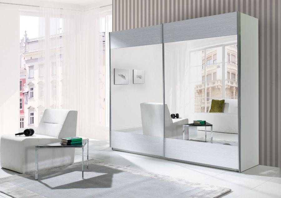 Schwebetürenschrank spiegelfront  KAUFEXPERT - Schwebetürenschrank 244 cm Strip Weiß Kleiderschrank ...