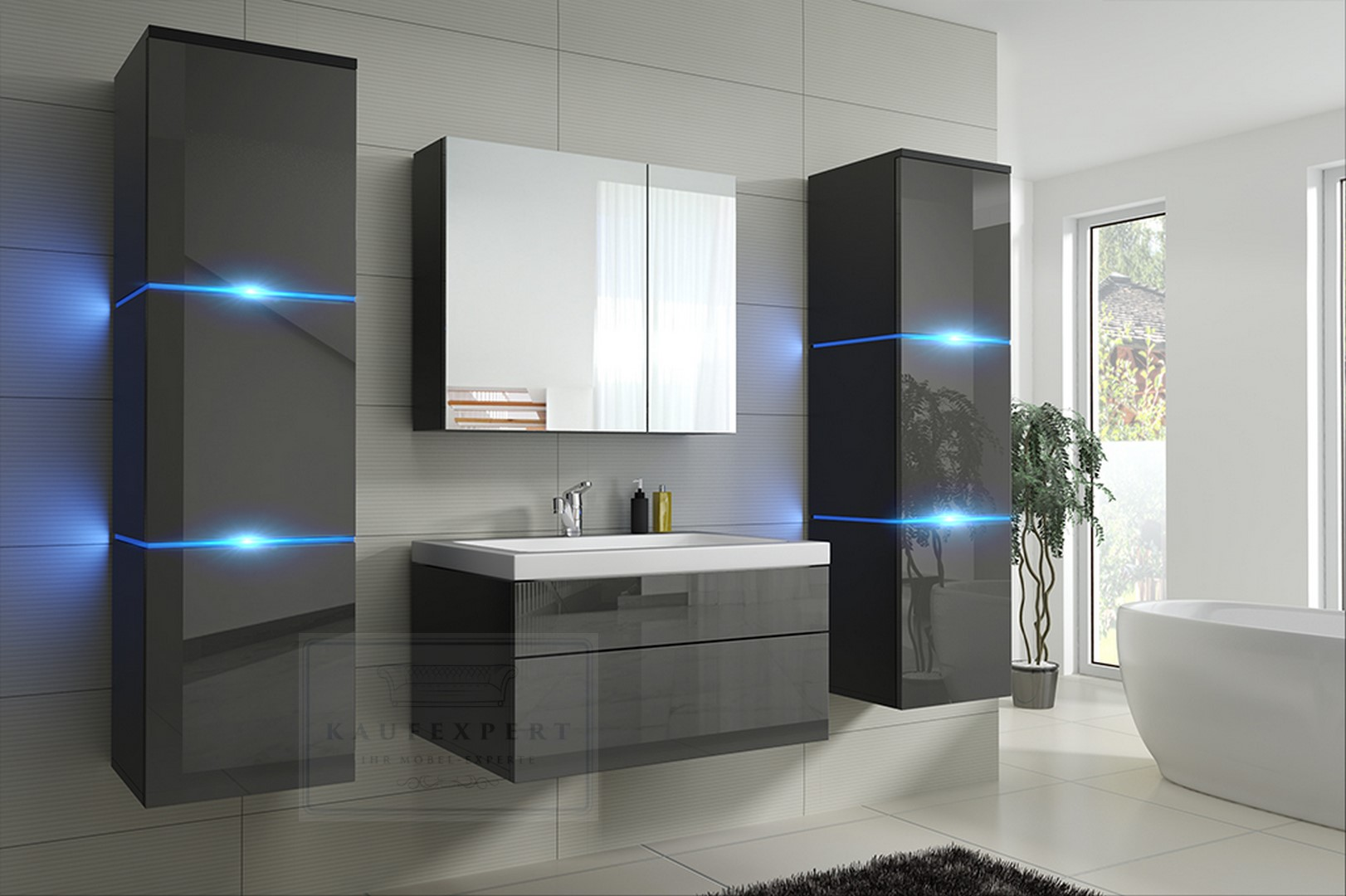kaufexpert badm bel set lux new grau hochglanz schwarz keramik waschbecken badezimmer led. Black Bedroom Furniture Sets. Home Design Ideas