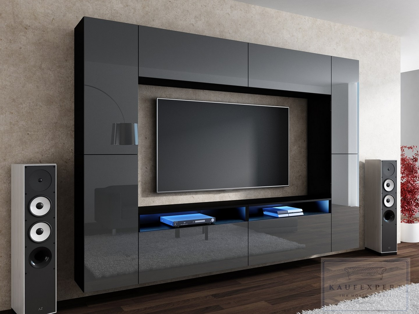 kaufexpert wohnwand cinema grau hochglanz schwarz mediawand medienwand design modern led. Black Bedroom Furniture Sets. Home Design Ideas