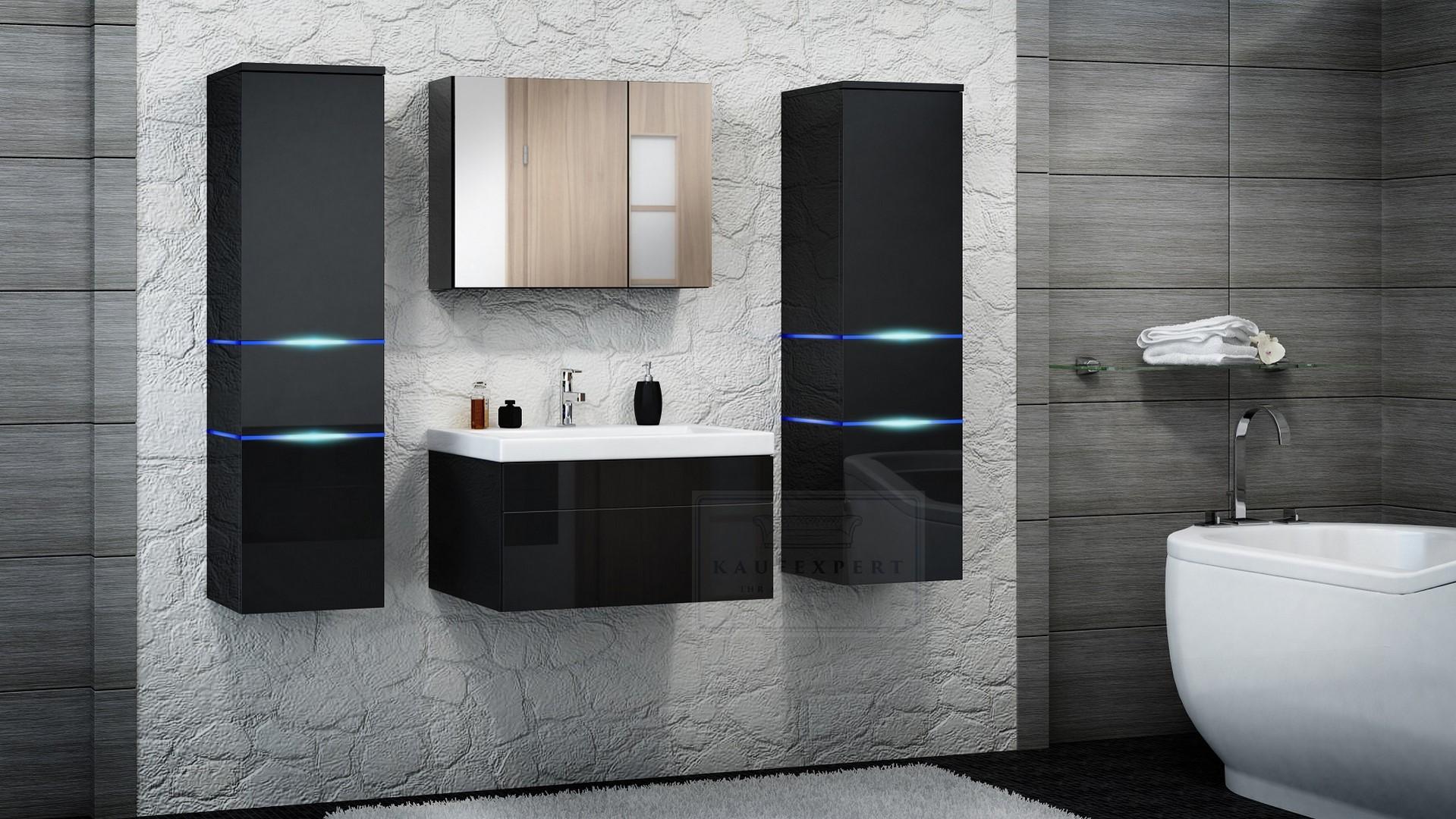 kaufexpert badm bel set prestige schwarz hochglanz lackiert keramik waschbecken badezimmer led. Black Bedroom Furniture Sets. Home Design Ideas