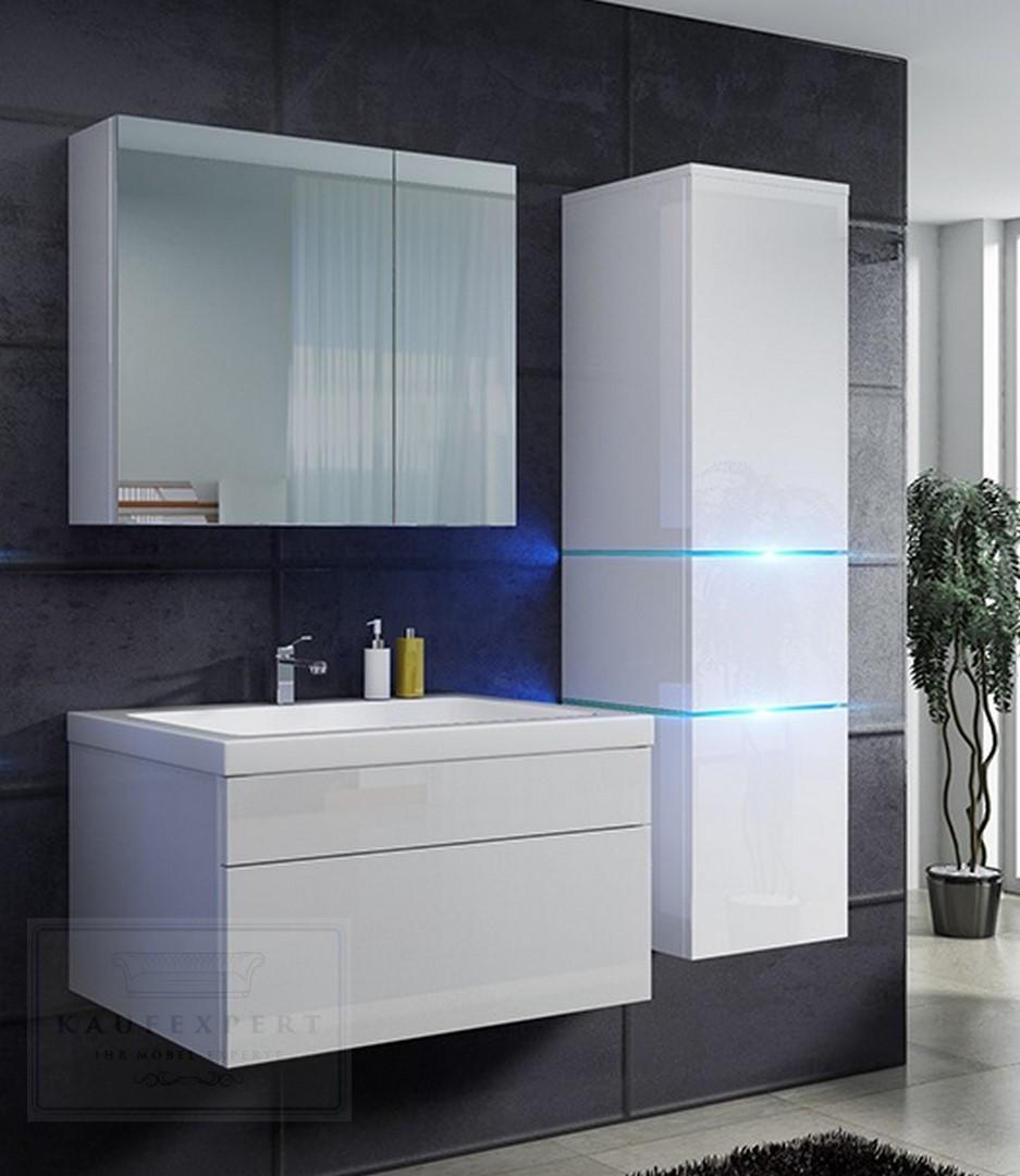 Badmöbel-Set Prestige 1 Weiß Hochglanz Lackiert KERAMIK Waschbecken  Badezimmer Led Beleuchtung Badezimmermöbel Lack Spiegelschrank