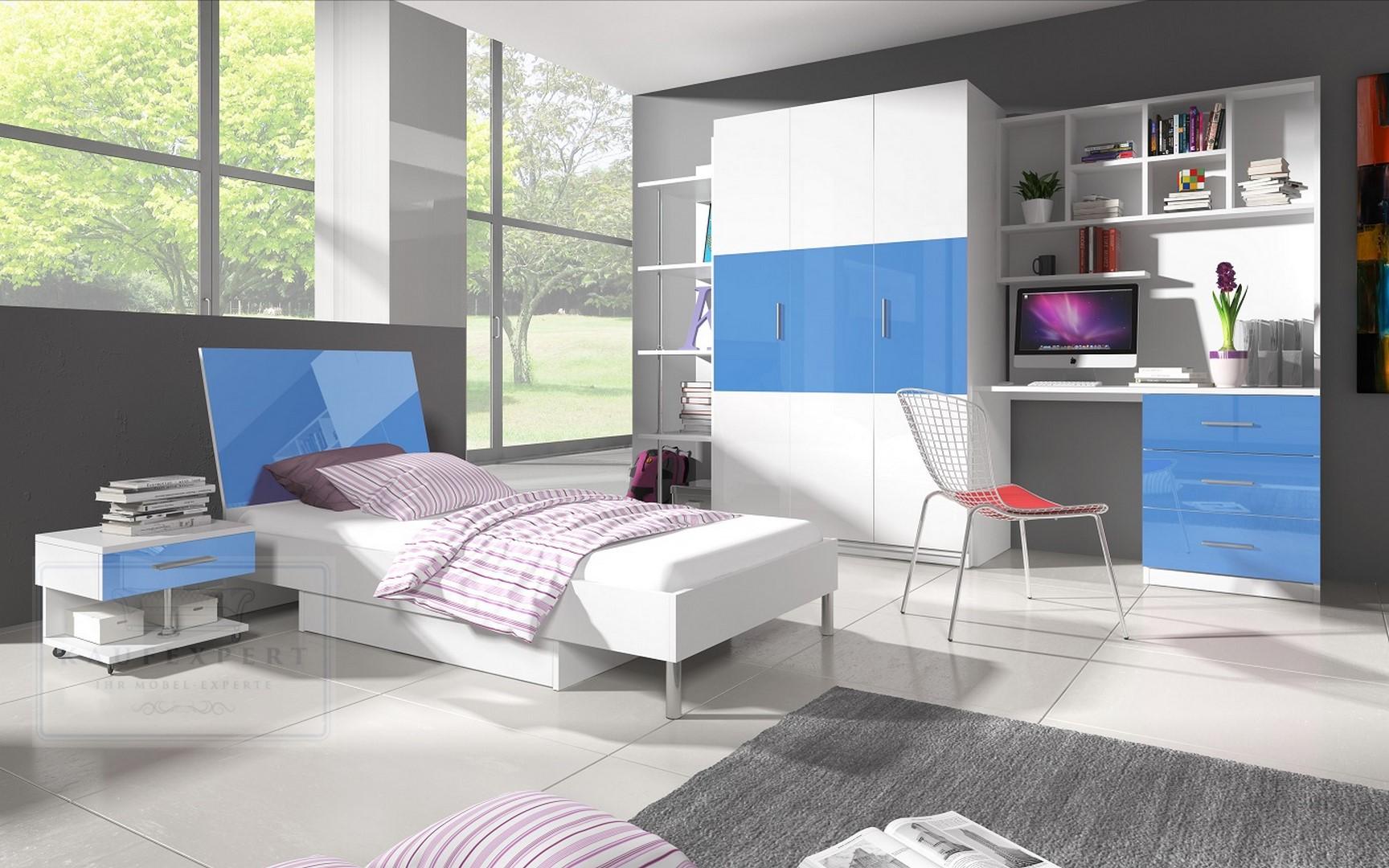 Jugendzimmer komplett weiß hochglanz  KAUFEXPERT - Kinderzimmer Paradise 3 Blau Hochglanz Jugendzimmer ...