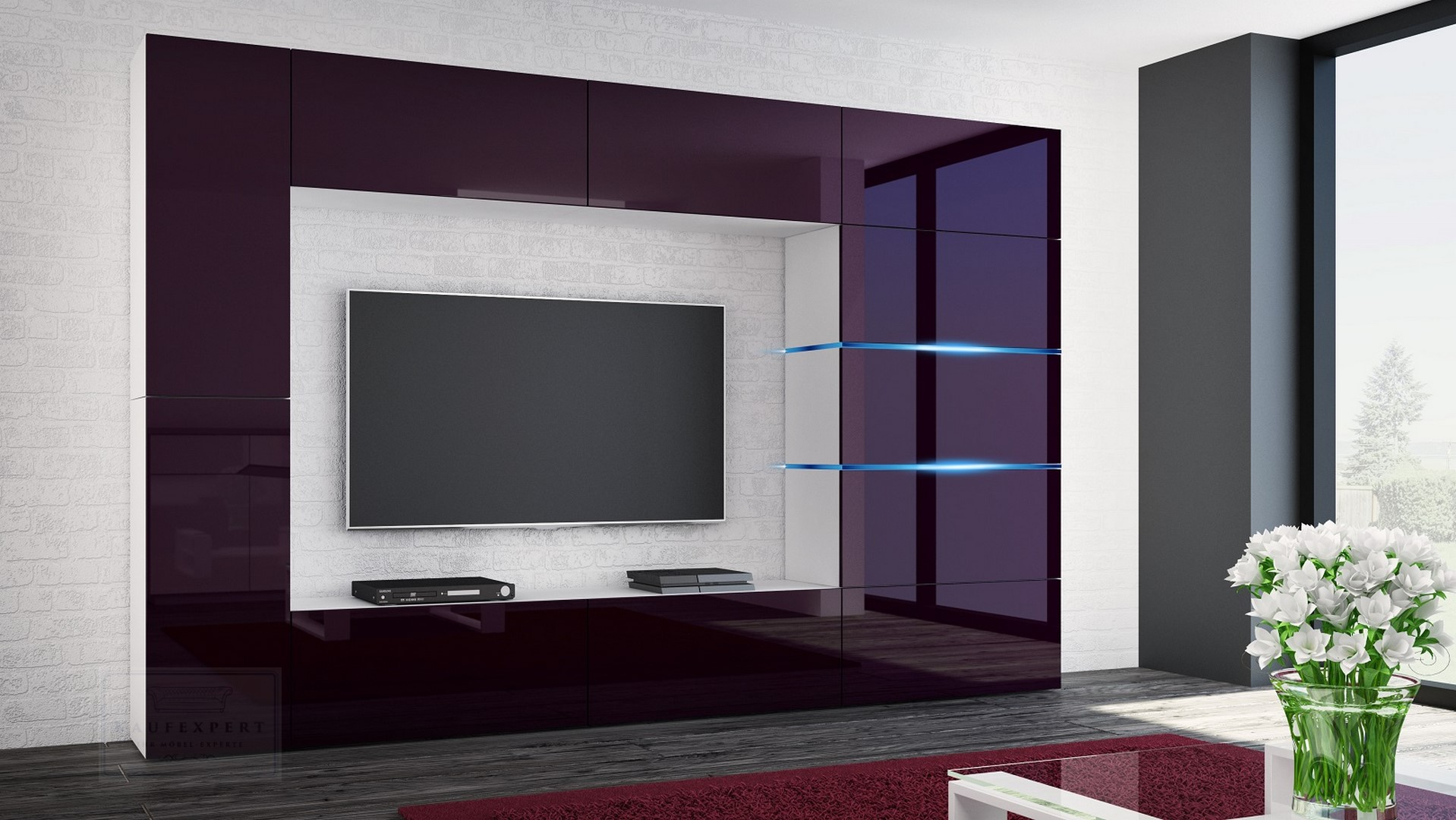 kaufexpert wohnwand shadow aubergine hochglanz wei 285 cm mediawand anbauwand medienwand. Black Bedroom Furniture Sets. Home Design Ideas