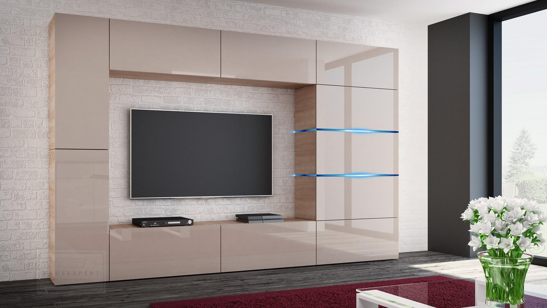 Elegant Wohnwand Shadow Cappuccino Hochglanz/Sonoma 285 Cm Mediawand Anbauwand  Medienwand Design Modern Led Beleuchtung MDF