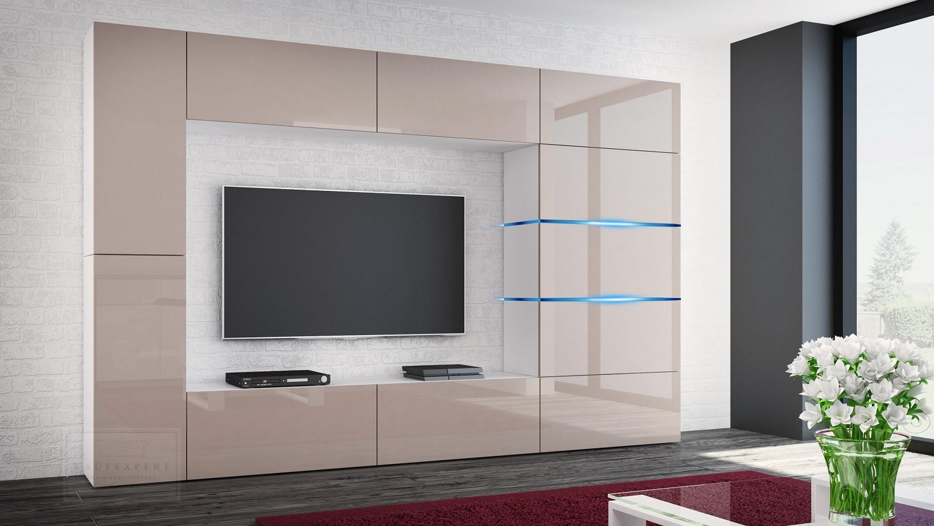 Wohnwand Shadow Cappuccino Hochglanz/Weiß 285 Cm Mediawand Anbauwand  Medienwand Design Modern Led Beleuchtung MDF