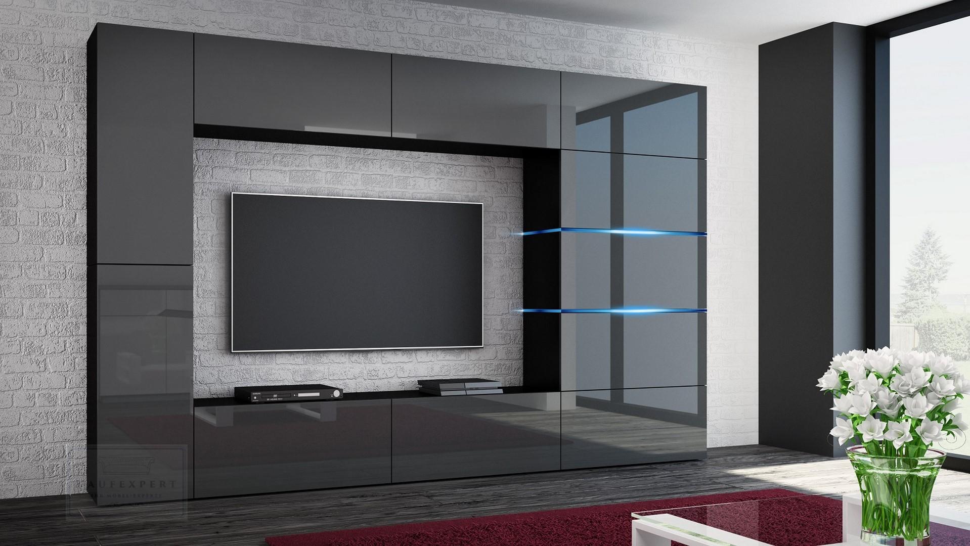 Wohnwand Shadow Grau Hochglanz/Schwarz 285 Cm Mediawand Anbauwand Medienwand Design