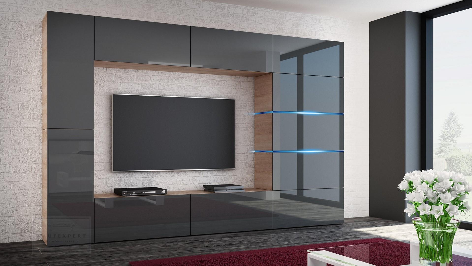 Wohnwand Shadow Grau Hochglanz/Sonoma 285 Cm Mediawand Anbauwand Medienwand  Design Modern Led Beleuchtung MDF