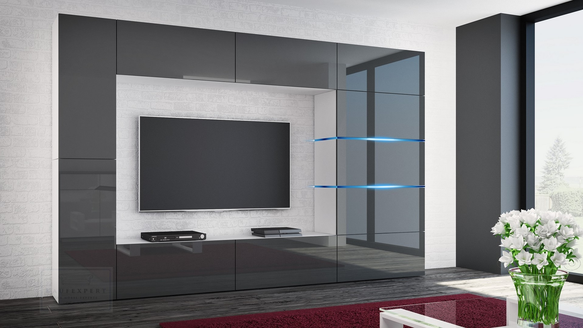 Wohnwand Shadow Grau Hochglanz Weiss 285 Cm Mediawand Anbauwand Medienwand Design Modern Led Beleuchtung Mdf Hochglanz Stehend Tv Wand