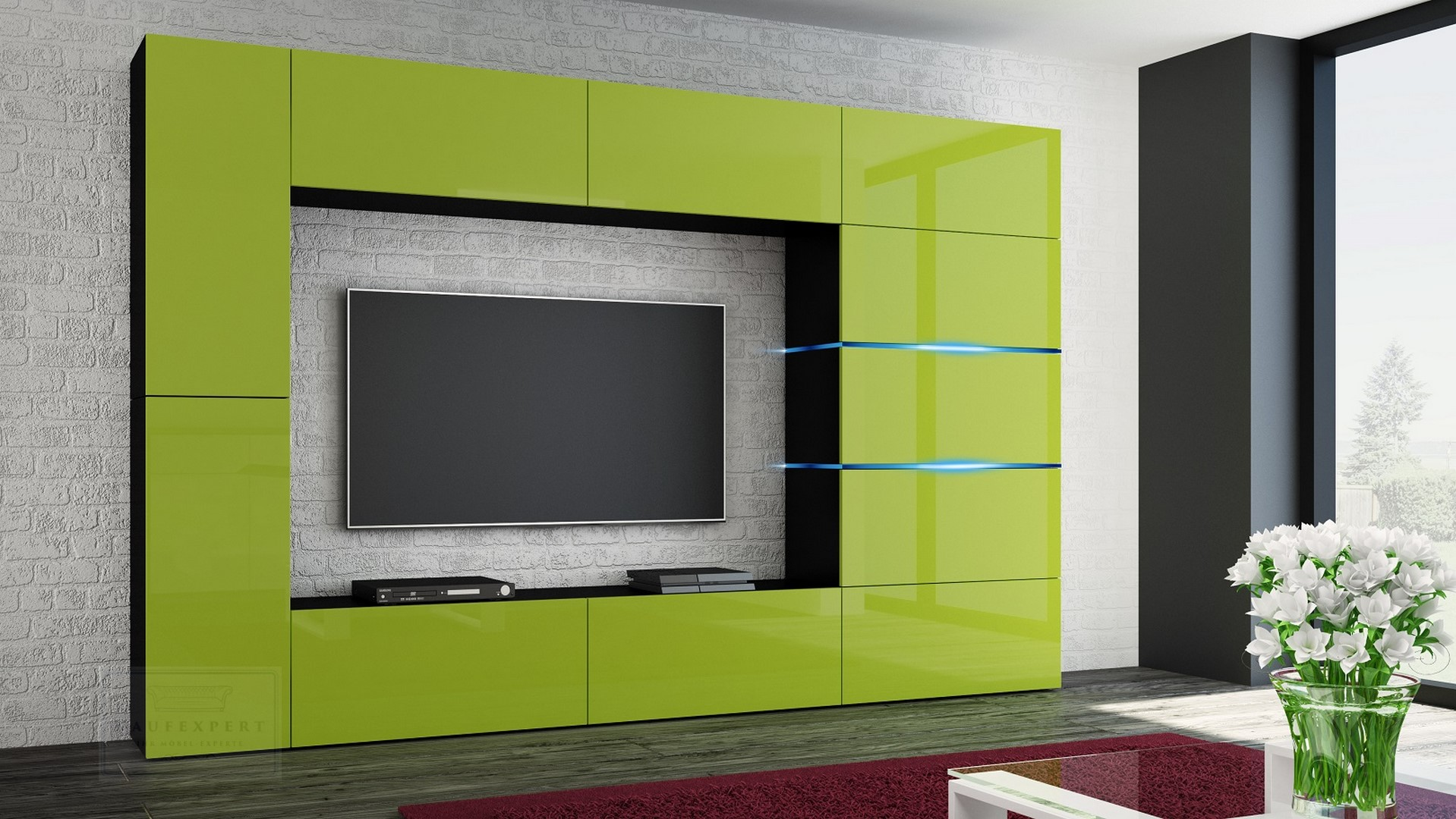 Wohnwand Shadow Lime Hochglanz/Schwarz 285 Cm Mediawand Anbauwand  Medienwand Design Modern Led Beleuchtung Hochglanz