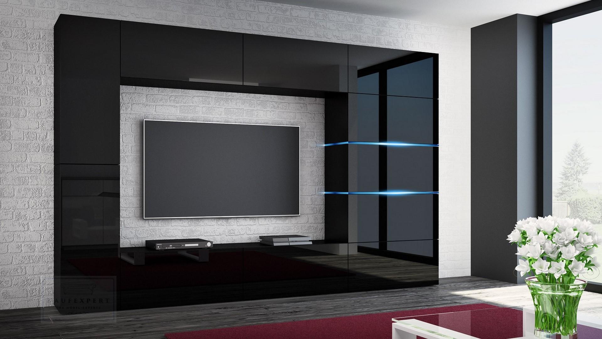 Schon Wohnwand Shadow Schwarz Hochglanz 285 Cm Mediawand Anbauwand Medienwand  Design Modern Led Beleuchtung MDF Hochglanz Stehend