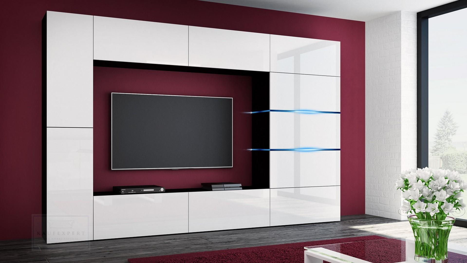 Wohnwand Shadow Weiß Hochglanz Schwarz 285 Cm Mediawand Anbauwand Medienwand Design Modern Led Beleuchtung Mdf Hochglanz Stehend Tv Wand