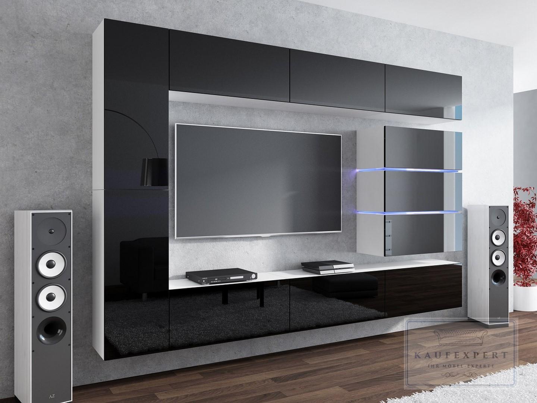 kaufexpert wohnwand shine schwarz hochglanz wei 284 cm mediawand medienwand design modern led. Black Bedroom Furniture Sets. Home Design Ideas