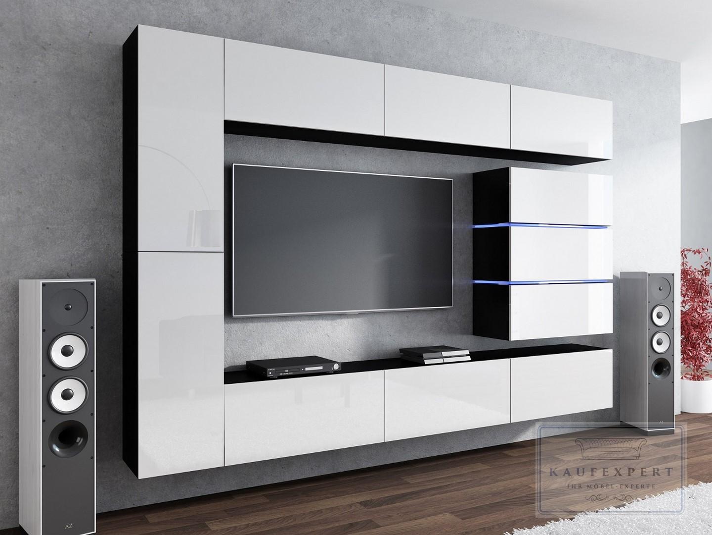 Kaufexpert wohnwand shine wei hochglanz schwarz 284 cm mediawand medienwand design modern led - Medienwand tv ...