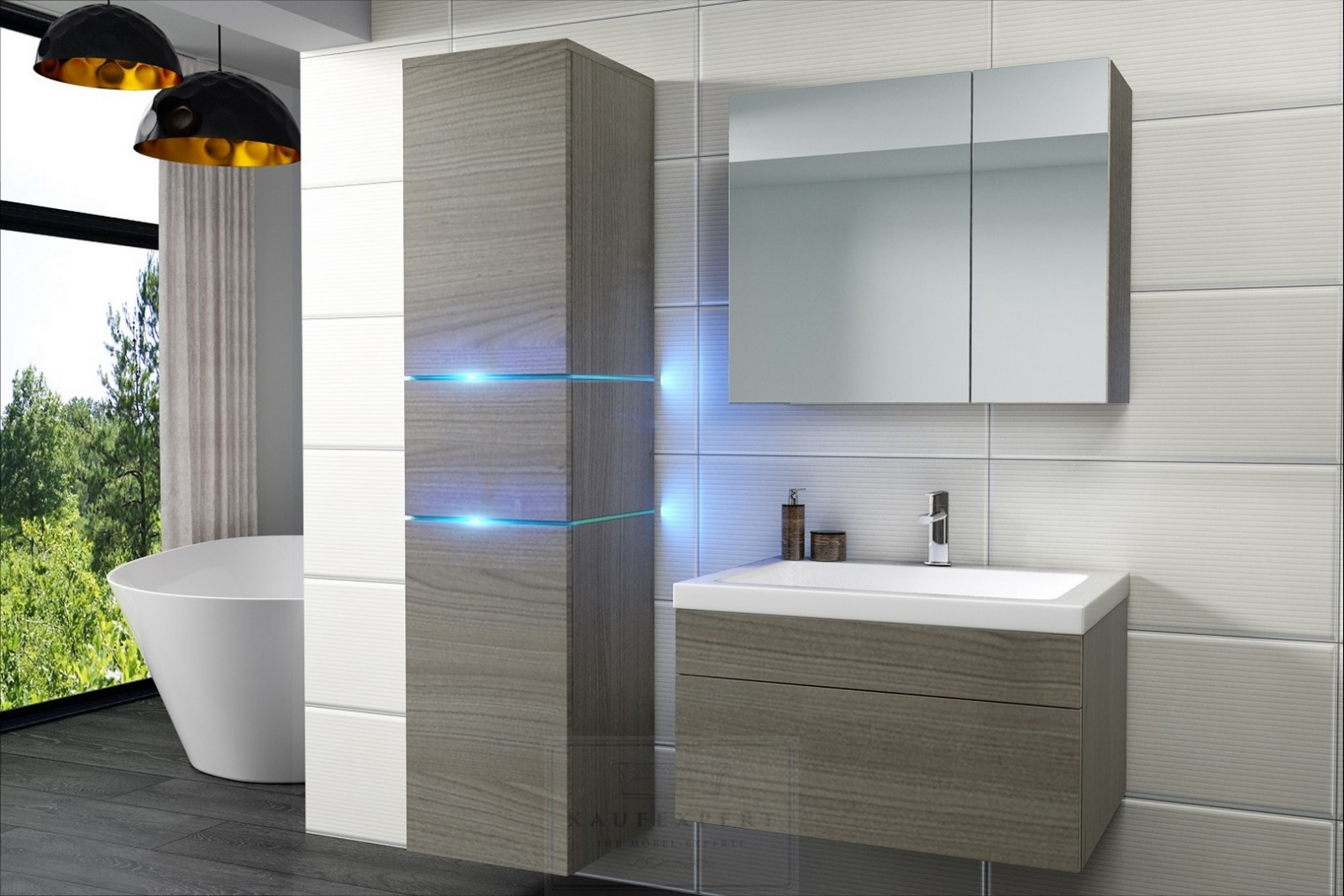 kaufexpert badm bel set ledox 170 cm cardiff cherry keramik waschbecken badezimmer led. Black Bedroom Furniture Sets. Home Design Ideas