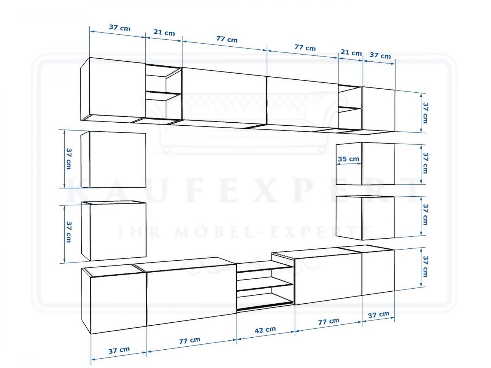 wohnwand edge schwarz hochglanz mediawand medienwand design modern led. Black Bedroom Furniture Sets. Home Design Ideas