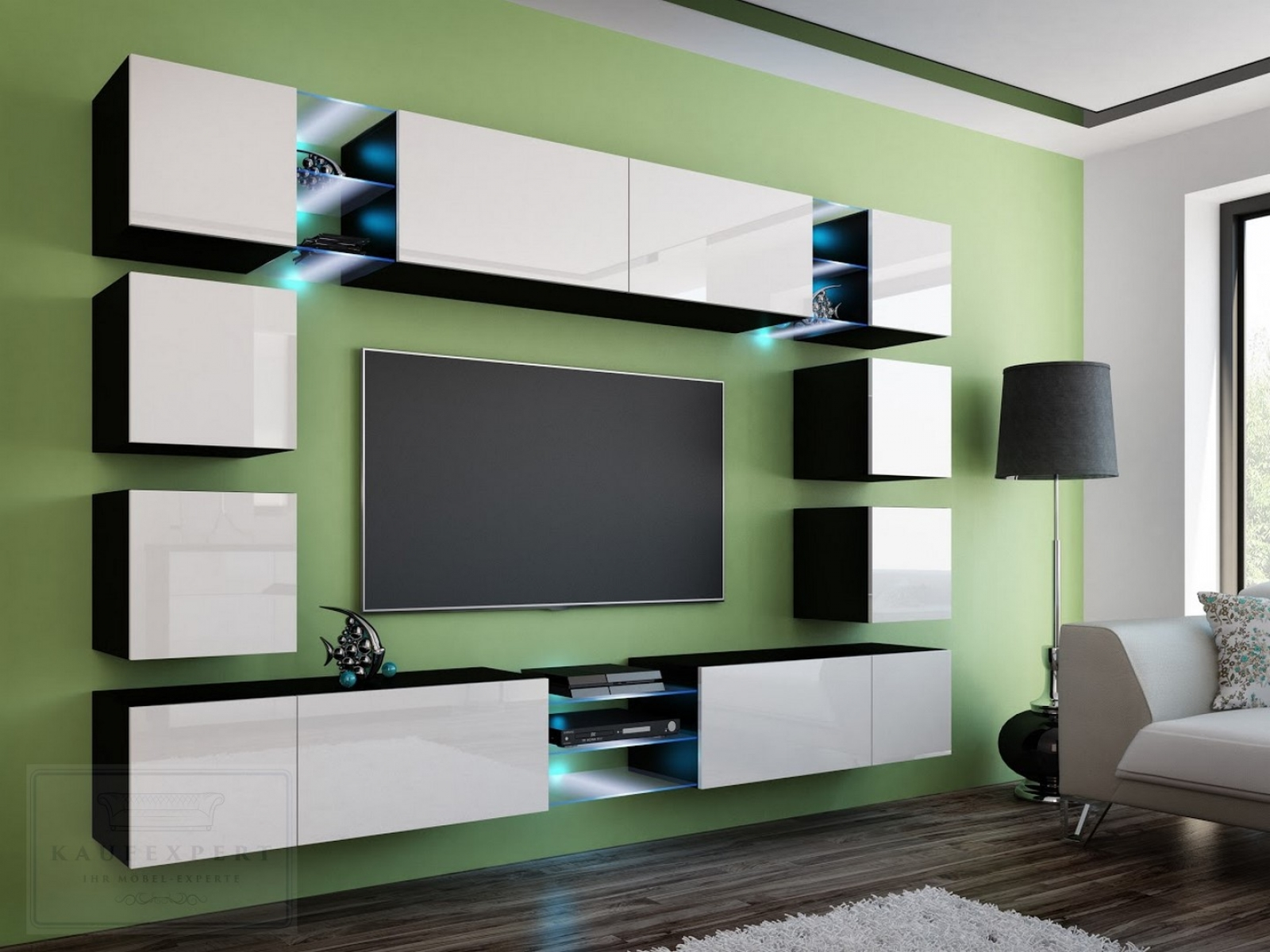 kaufexpert wohnwand edge wei hochglanz schwarz mediawand medienwand design modern led. Black Bedroom Furniture Sets. Home Design Ideas