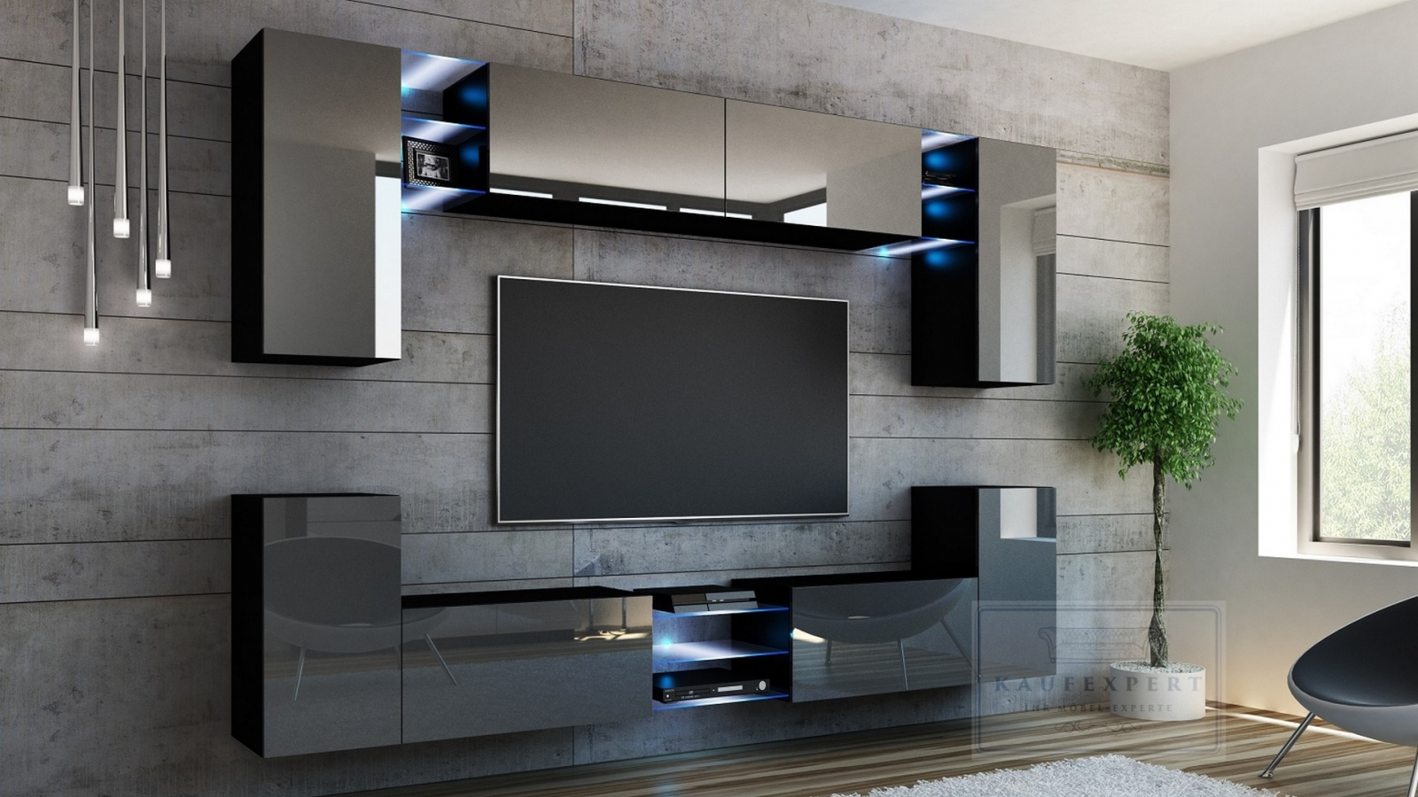 kaufexpert wohnwand galaxy grau hochglanz schwarz mediawand medienwand design modern led. Black Bedroom Furniture Sets. Home Design Ideas