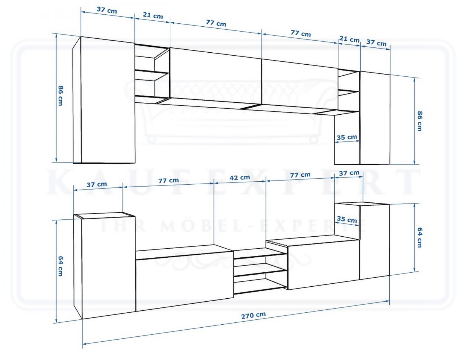 kaufexpert wohnwand galaxy wei hochglanz schwarz mediawand medienwand design modern led. Black Bedroom Furniture Sets. Home Design Ideas