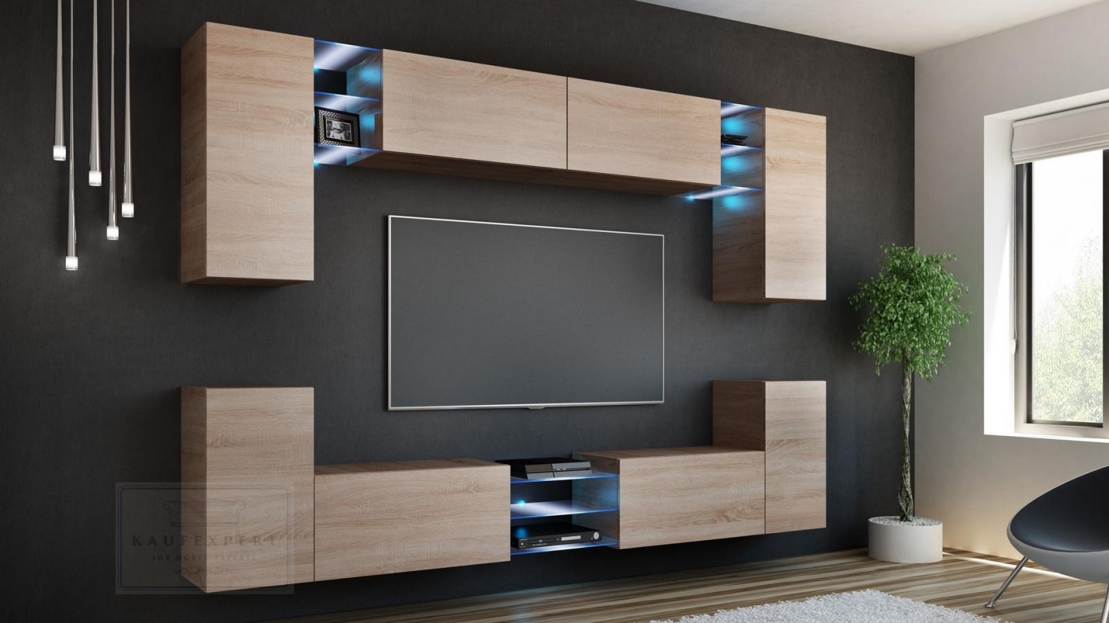 kaufexpert wohnwand galaxy sonoma eiche mediawand medienwand design modern led beleuchtung. Black Bedroom Furniture Sets. Home Design Ideas