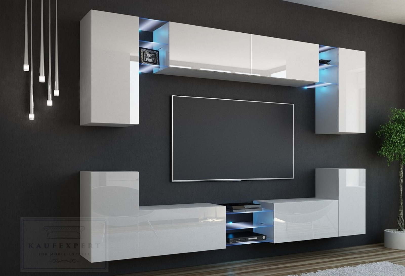 tv wand wei hochglanz m bel design idee f r sie. Black Bedroom Furniture Sets. Home Design Ideas