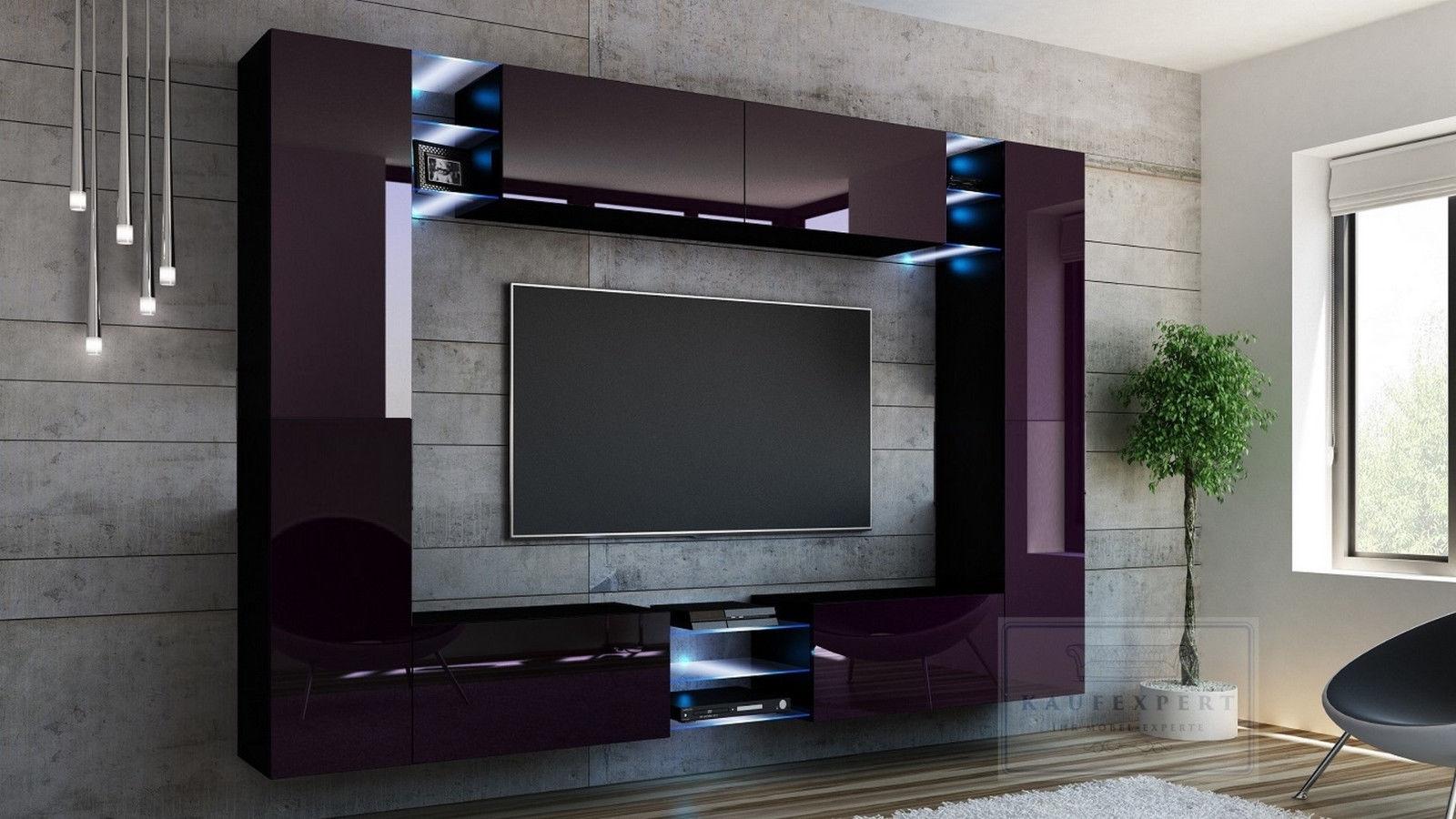 kaufexpert wohnwand kino aubergine hochglanz schwarz mediawand medienwand design modern led