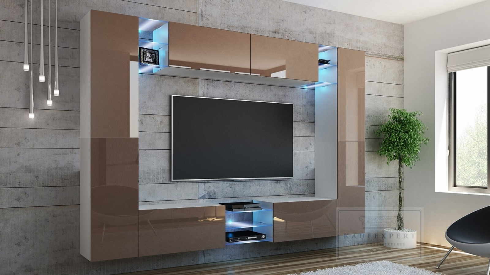 kaufexpert wohnwand kino cappuccino hochglanz wei mediawand medienwand design modern led. Black Bedroom Furniture Sets. Home Design Ideas