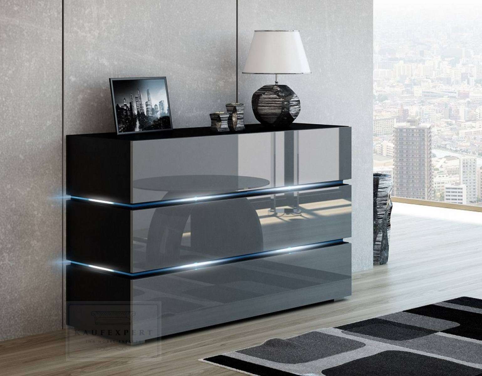 kaufexpert kommode shine sideboard 120 cm grau hochglanz schwarz led beleuchtung modern design. Black Bedroom Furniture Sets. Home Design Ideas