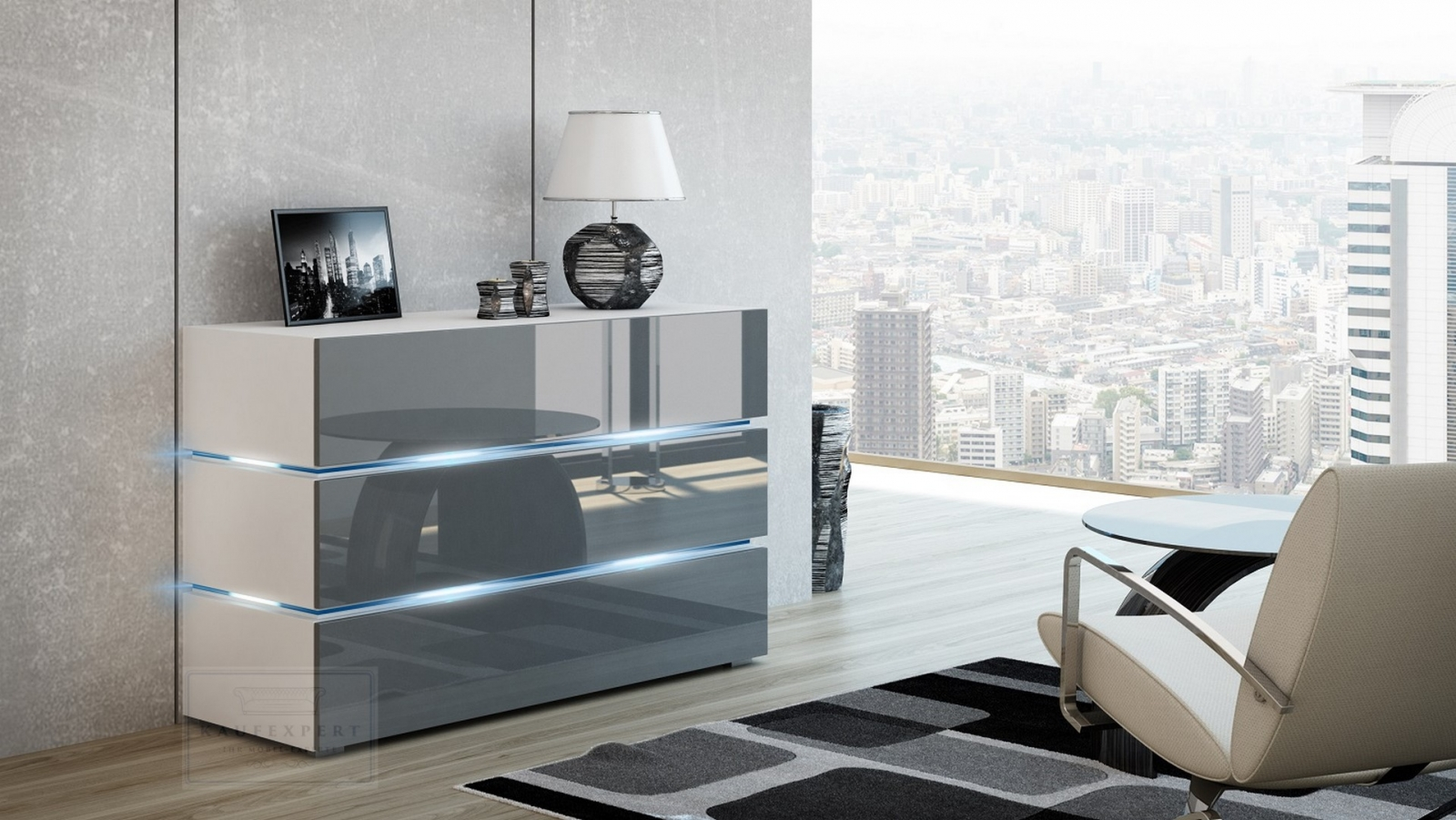 kaufexpert kommode shine sideboard 120 cm grau hochglanz wei led beleuchtung modern design tv. Black Bedroom Furniture Sets. Home Design Ideas