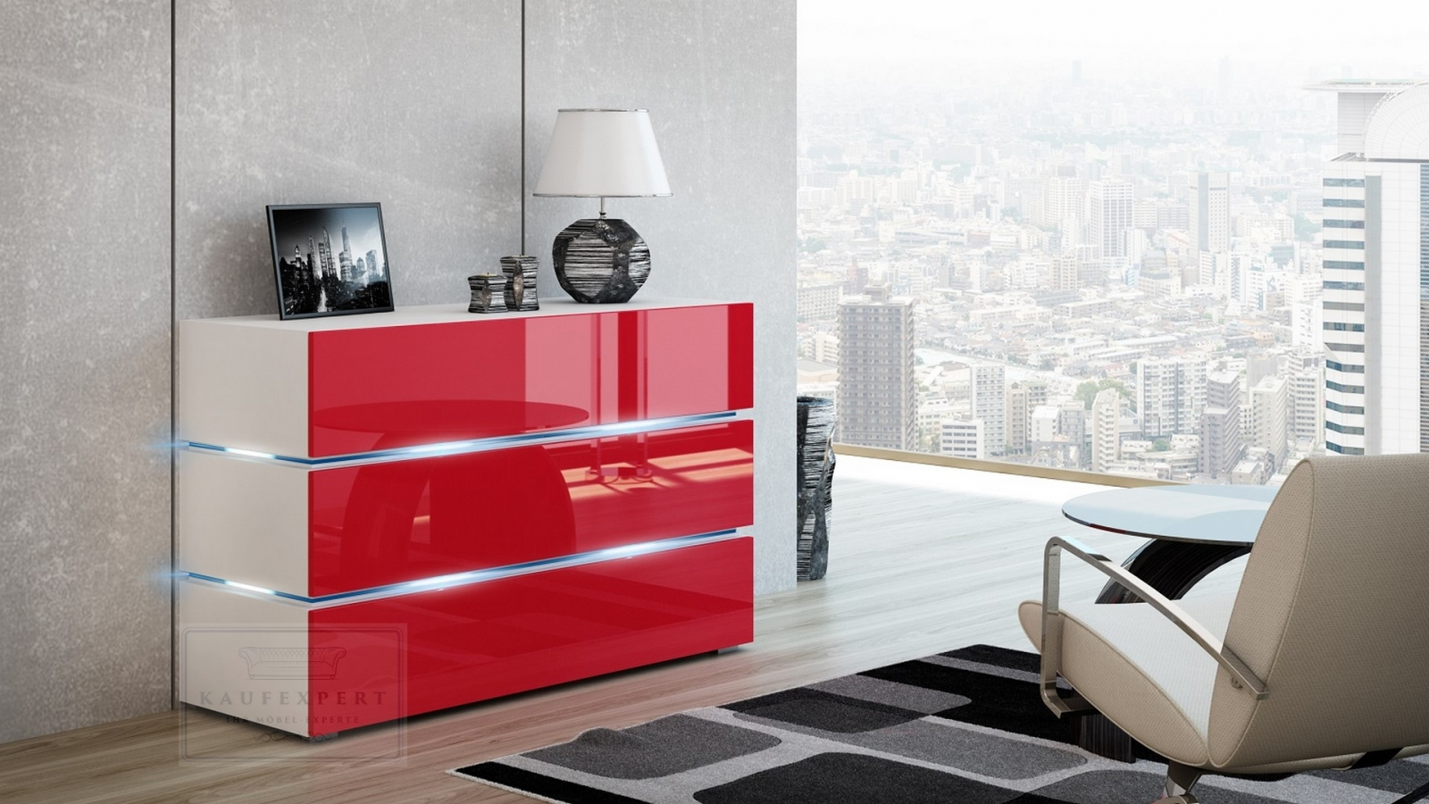 kaufexpert kommode shine sideboard 120 cm rot hochglanz wei led beleuchtung modern design tv. Black Bedroom Furniture Sets. Home Design Ideas