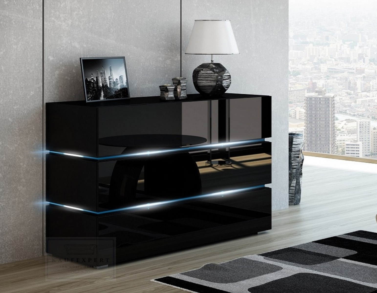 kaufexpert kommode shine sideboard 120 cm schwarz hochglanz led beleuchtung modern design tv. Black Bedroom Furniture Sets. Home Design Ideas