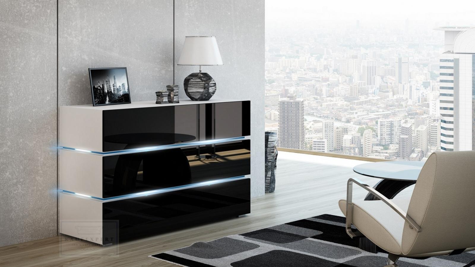 Kaufexpert kommode shine sideboard 120 cm schwarz hochglanz wei led beleuchtung modern design - Wohnzimmer schwarz hochglanz ...