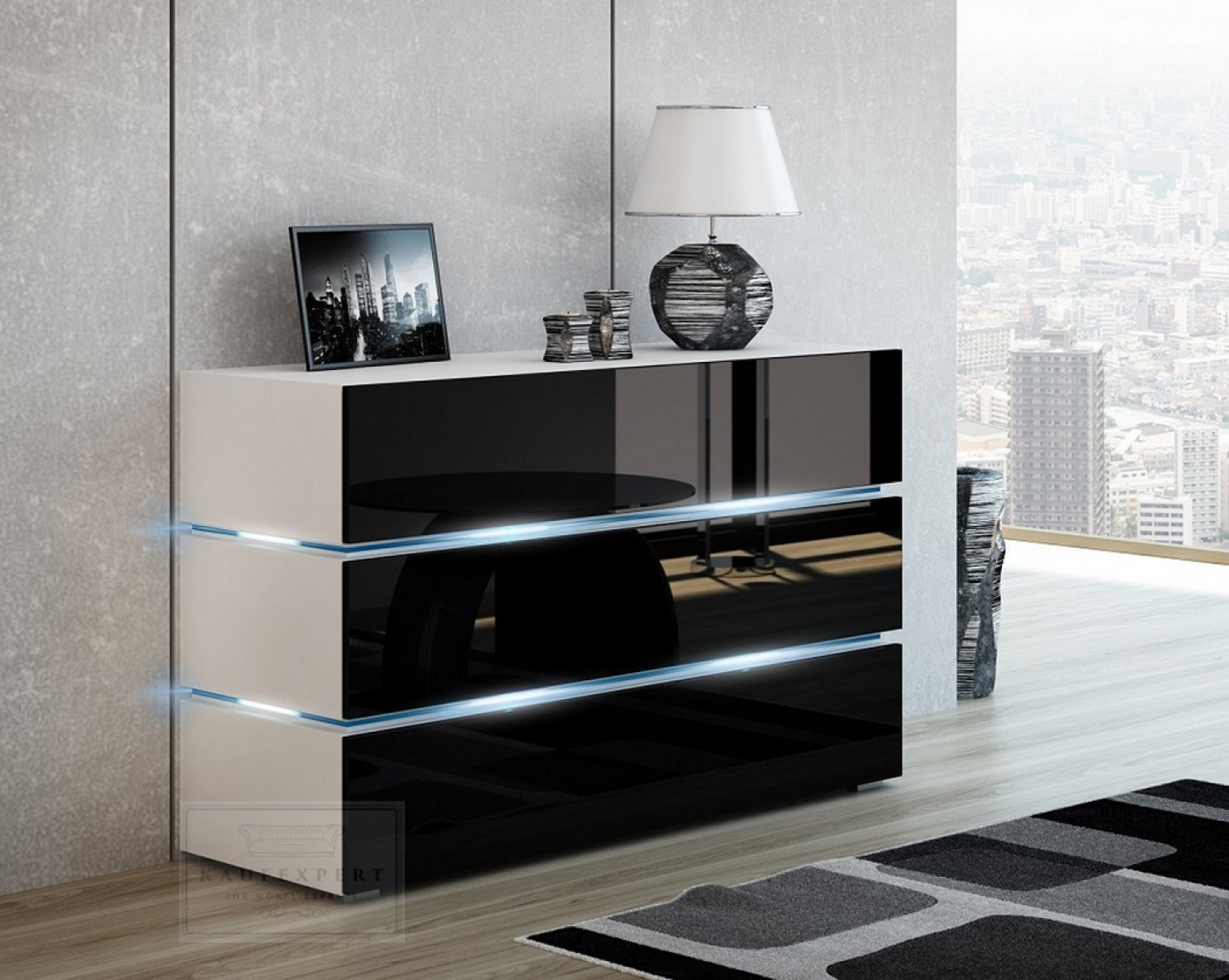 kaufexpert kommode shine sideboard 120 cm schwarz hochglanz wei led beleuchtung modern design. Black Bedroom Furniture Sets. Home Design Ideas