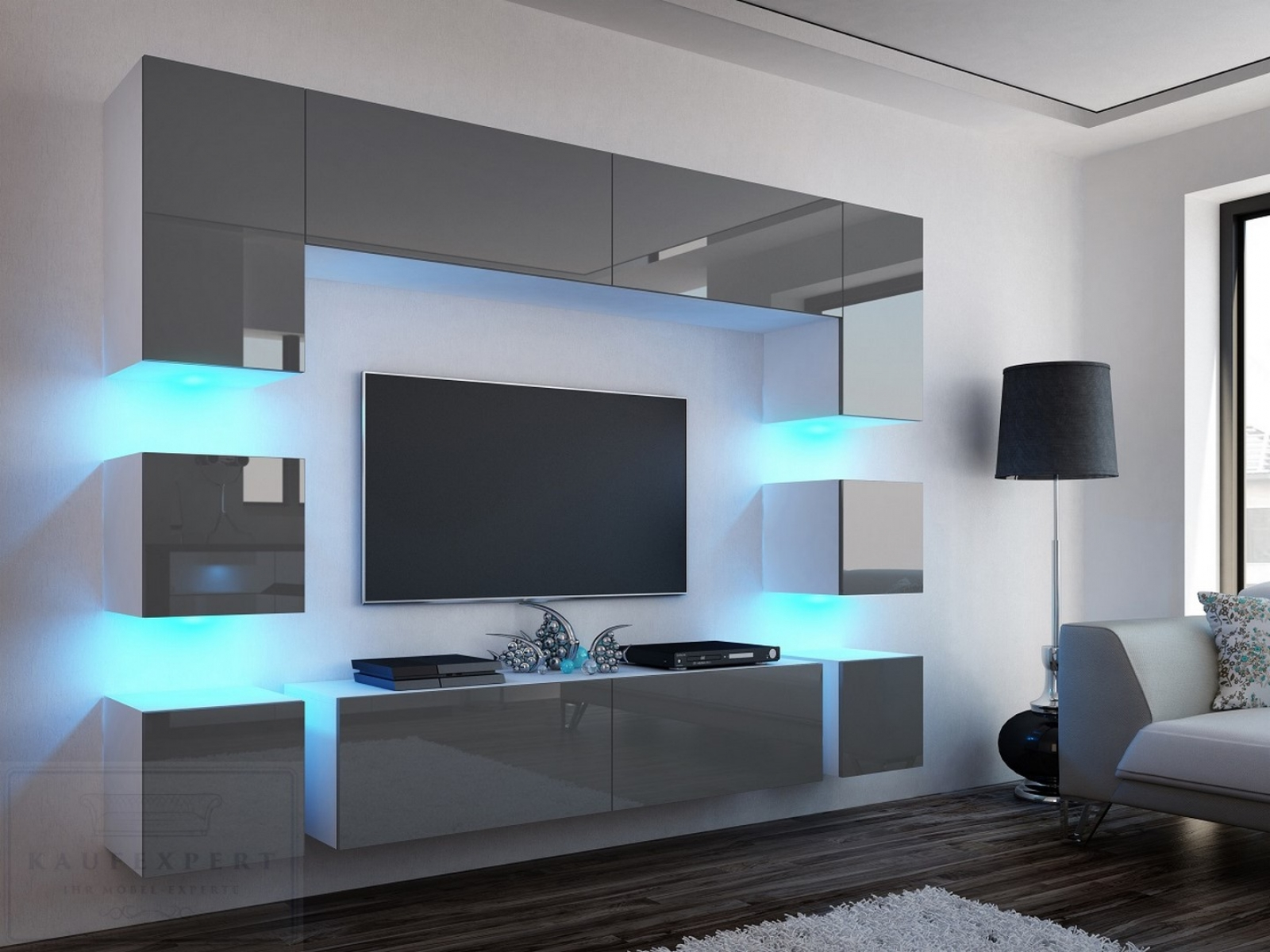 Wohnwand Quadro Grau Hochglanz/Weiß 228 Cm Mediawand Medienwand Design Modern Led
