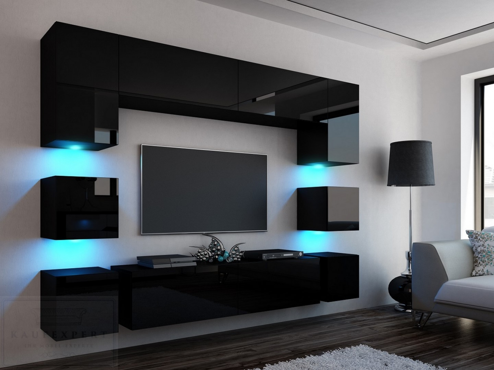 kaufexpert wohnwand quadro schwarz hochglanz 228 cm mediawand medienwand design modern led. Black Bedroom Furniture Sets. Home Design Ideas