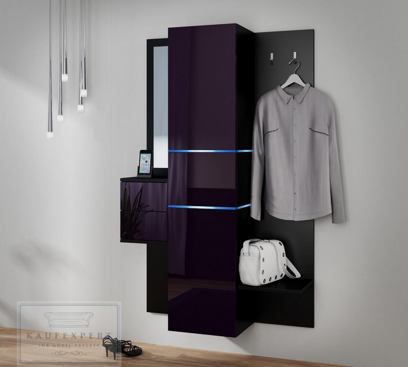 kaufexpert garderobe camino aubergine hochglanz schwarz mit spiegel led beleuchtung garderoben. Black Bedroom Furniture Sets. Home Design Ideas